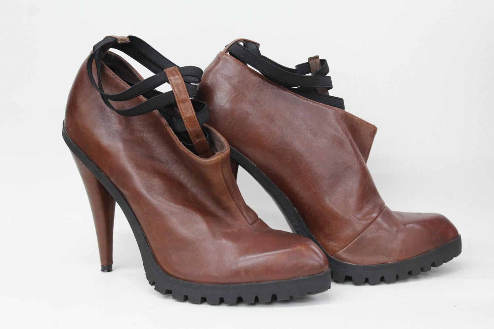 KG BY KURT GEIGER Ladies Brown Leather Elastic Ankle shoes Boots UK7 EU40