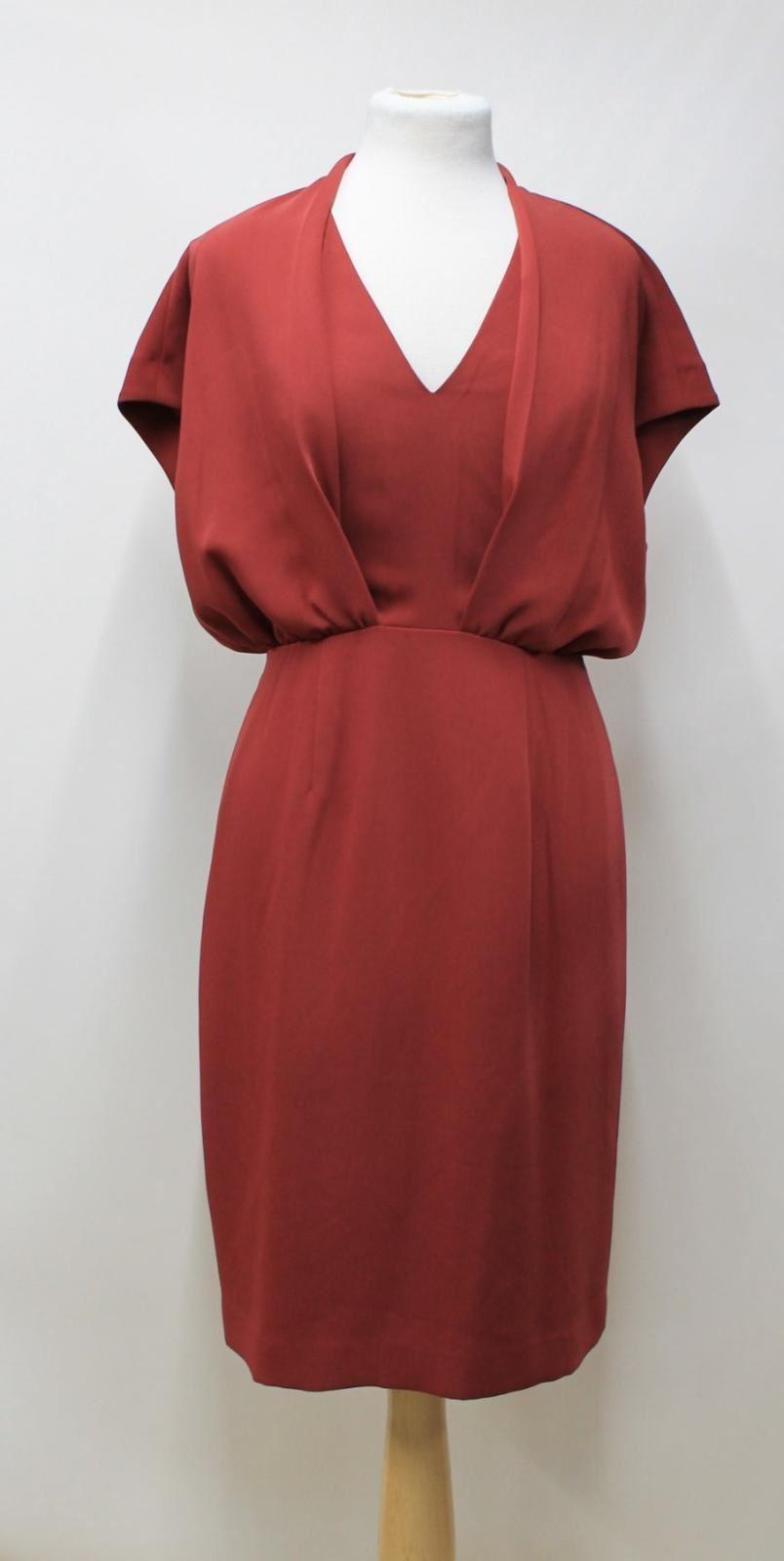 REISS-Ladies-Rust-Red-Sleeveless-V-Neck-Panelled-Shift-Style-Dress-Size-UK10