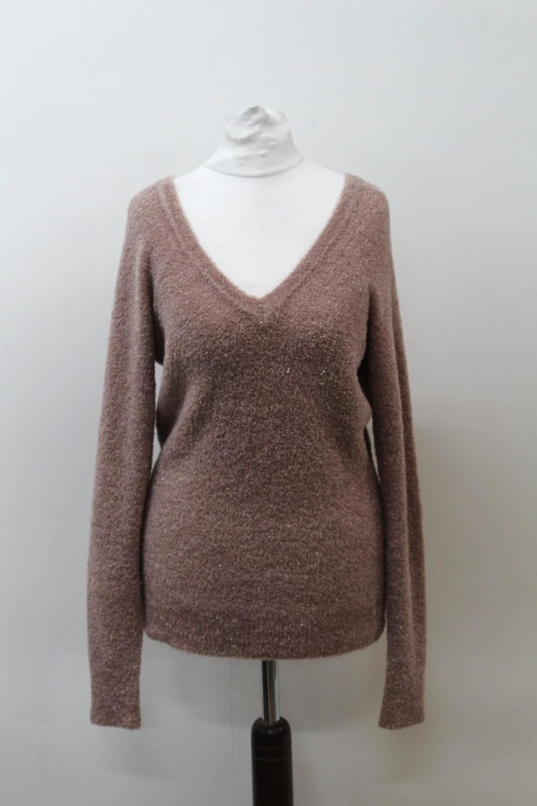 Reiss-Damen-Staubig-Rosa-Langarm-V-Hals-Fluffy-Glitzernde-Pullover-ca-M