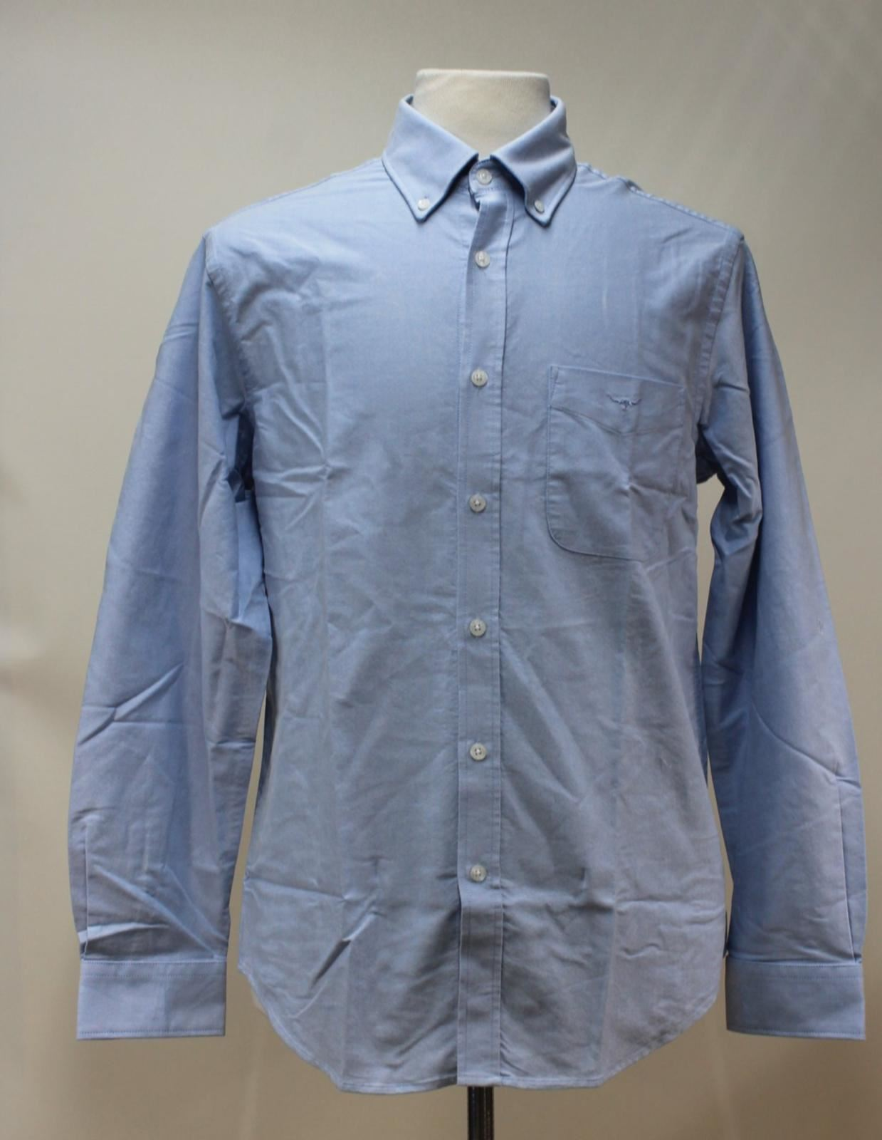 BNWT R. M. WILLIAMS Men's Sky bluee Cotton Collared Collins Casual Shirt Size XXL