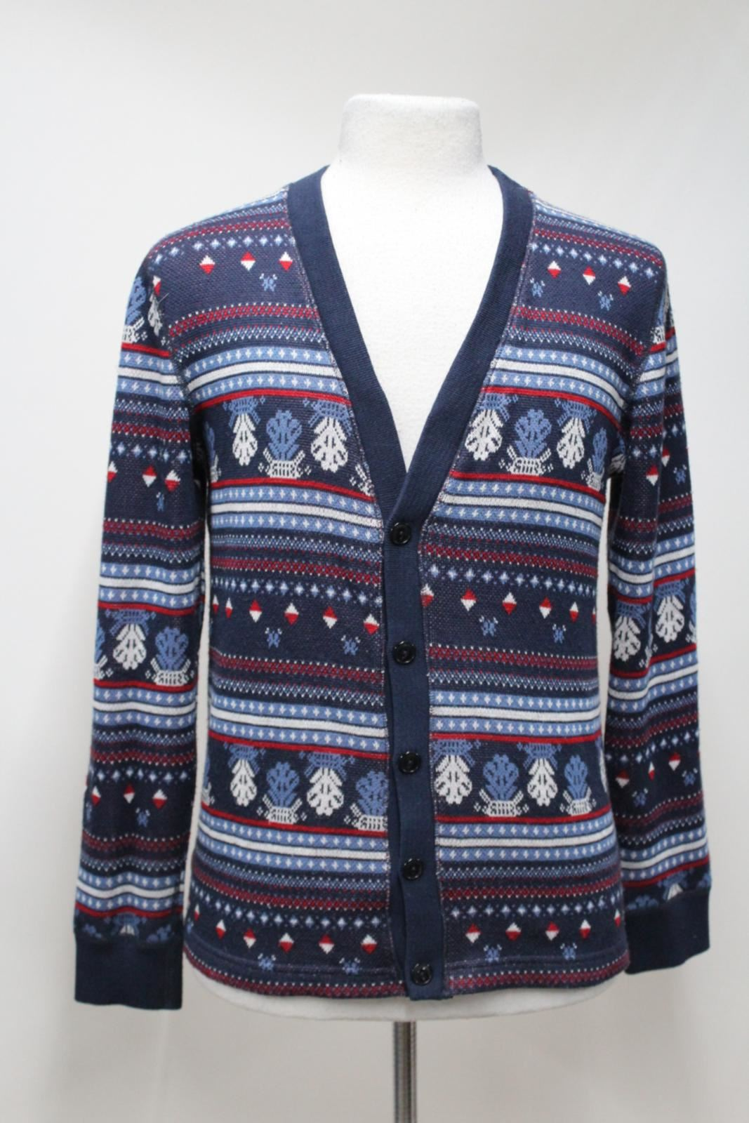 SUNNY-SPORTS-Mens-Blue-Patterned-Long-Sleeved-Button-Front-Jumper-Cardigan-UK-M