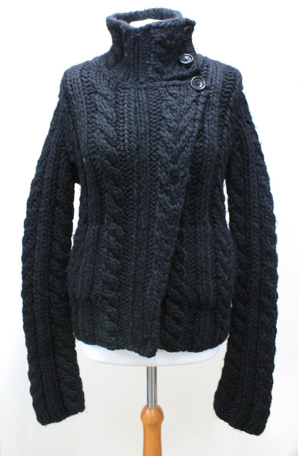 FARHI-Ladies-Black-Cable-Knit-Wool-Zip-Up-Polo-Neck-Long-Sleeved-Jacket-UK14