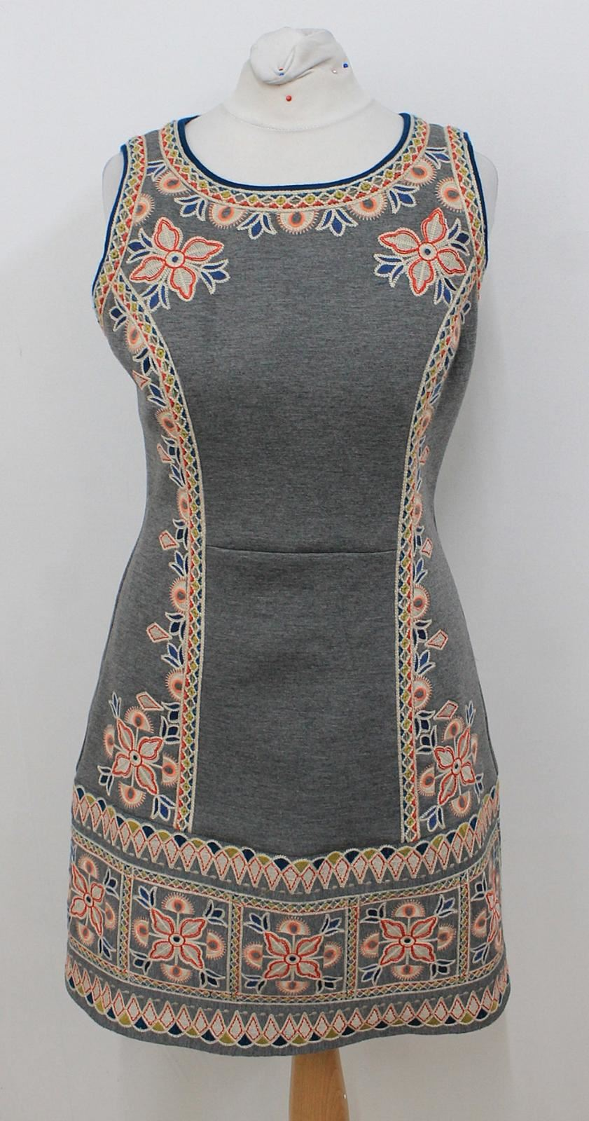 ANTHROPOLOGIE-MAEVE-Ladies-Grey-Floral-Embroidered-Sleeveless-Dress-Size-4P-S