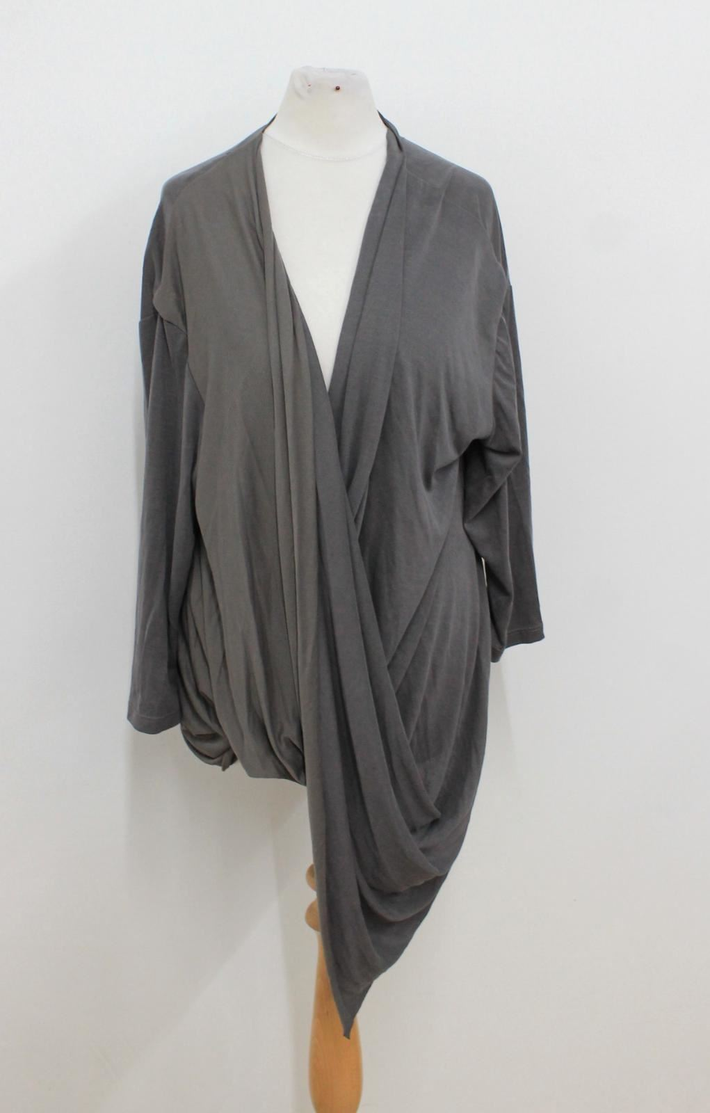 Bnwt Asymmetric Long Grey Dark Xs V Neck Ladies Sleeved Hem Morrison Top Size r4A1wr