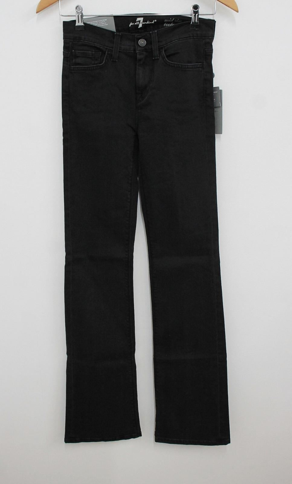 7 For All Mankind Femme Noir Mid Rise Bootcut Jambe Jeans 26 W26 L33 Bnwt