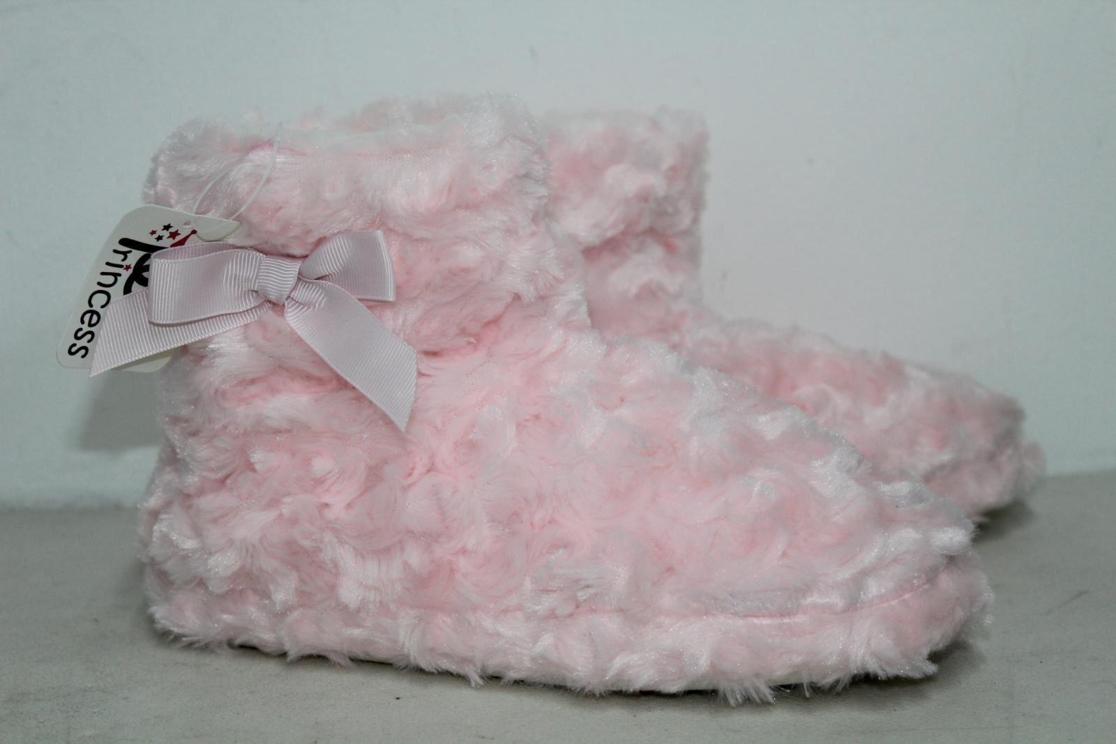CHIC PRINCESS Girls Pink Fluffy Winter Warm Slipper Shoe Boots UK5 EU38 BNWT