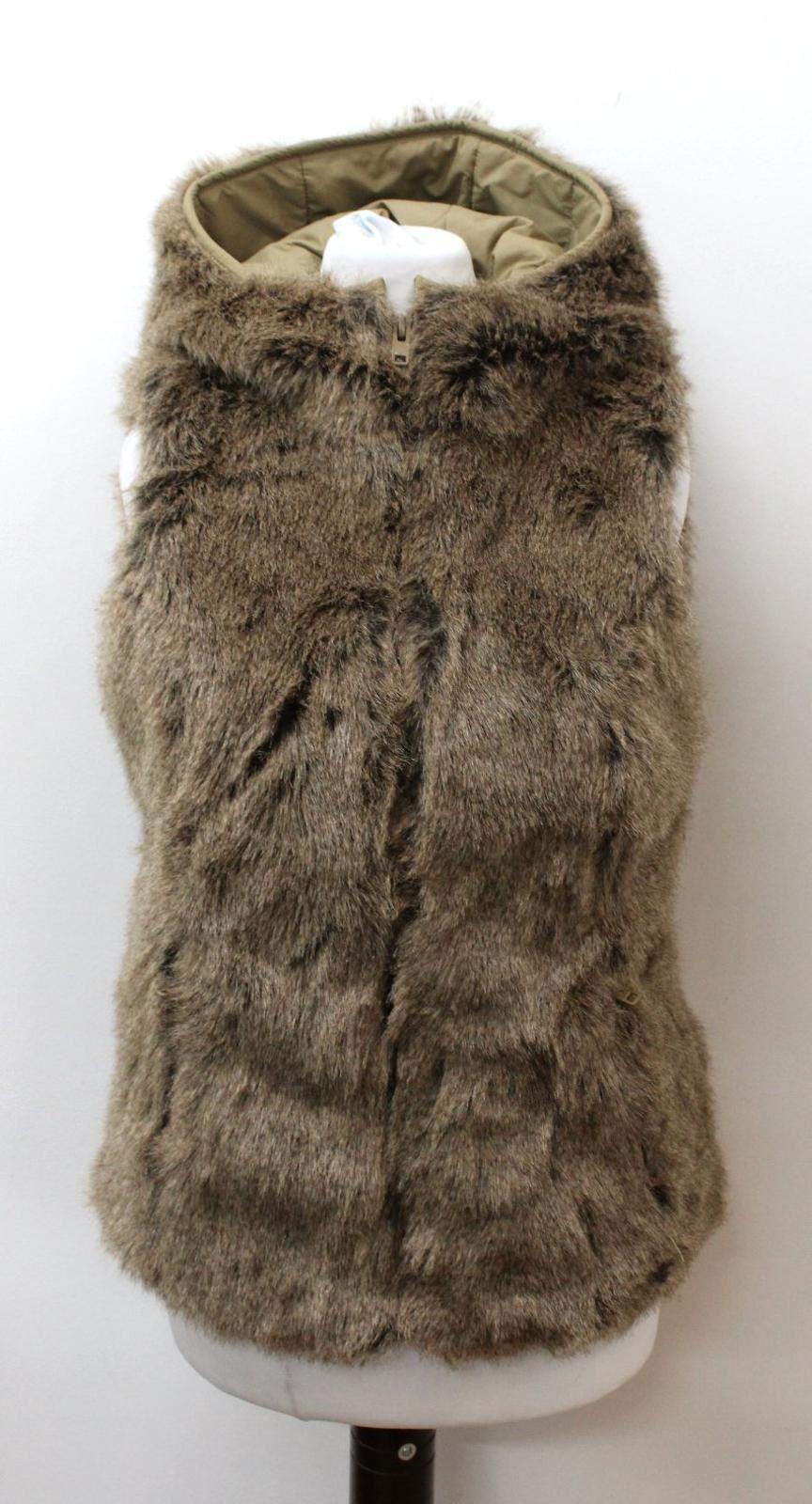 JACK-WILLS-Ladies-Brown-Faux-Fur-Hooded-Gilet-Bodywarmer-Jacket-UK8-EU36
