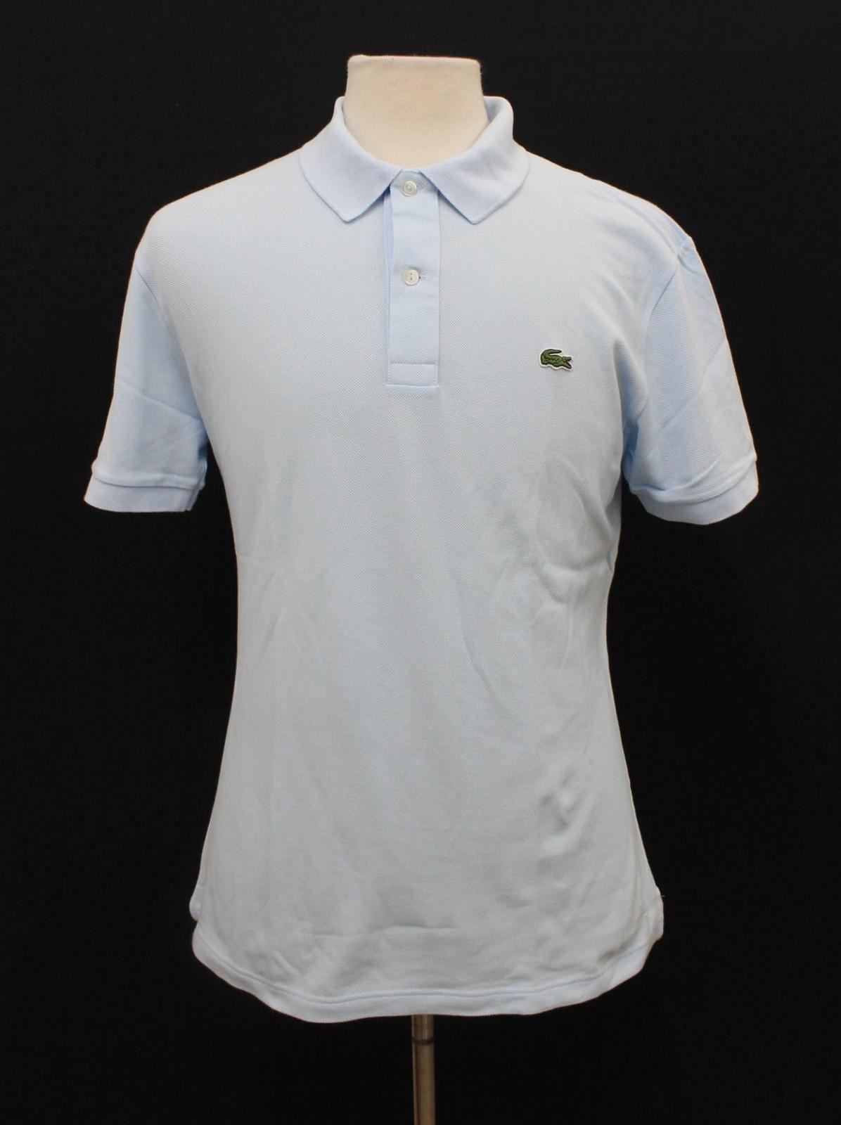 LACOSTE-Men-039-s-Pastel-Blue-Cotton-Short-Sleeve-Slim-Fit-Polo-Shirt-Size-6-L