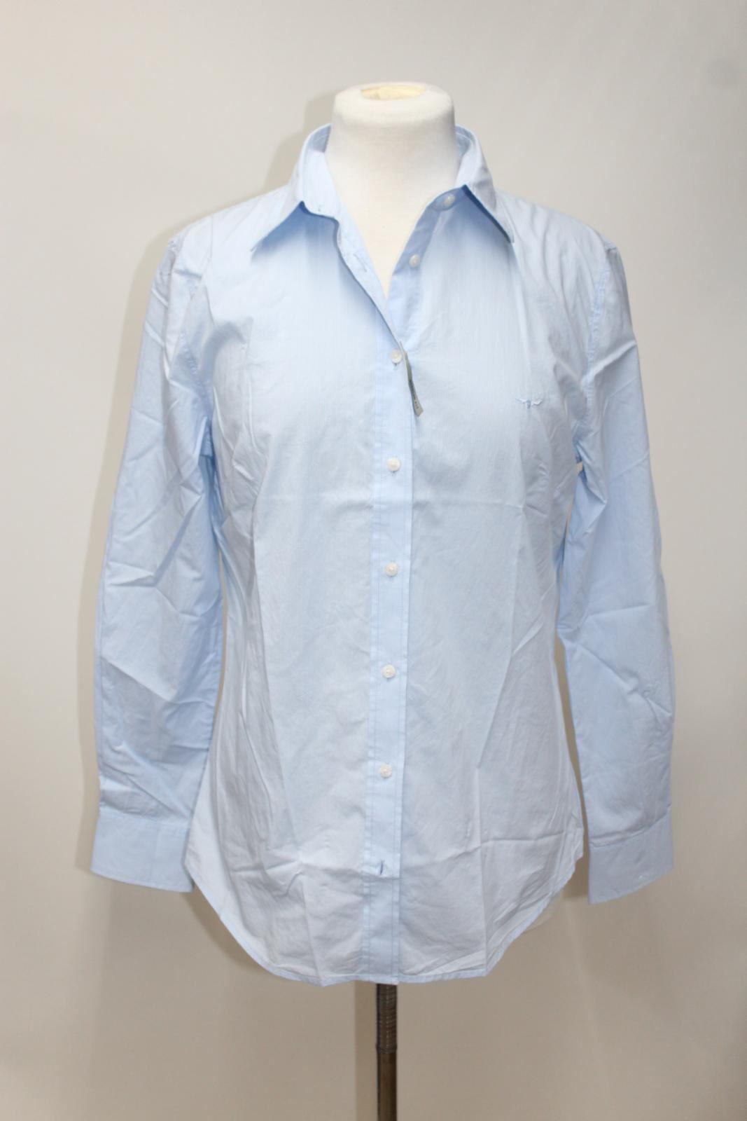 37e7a099b9 BNWT R.M. WILLIAMS DONNA DONNA DONNA AZZURRO GESSATO Camicia a maniche  lunghe cotone UK12 bfae4e