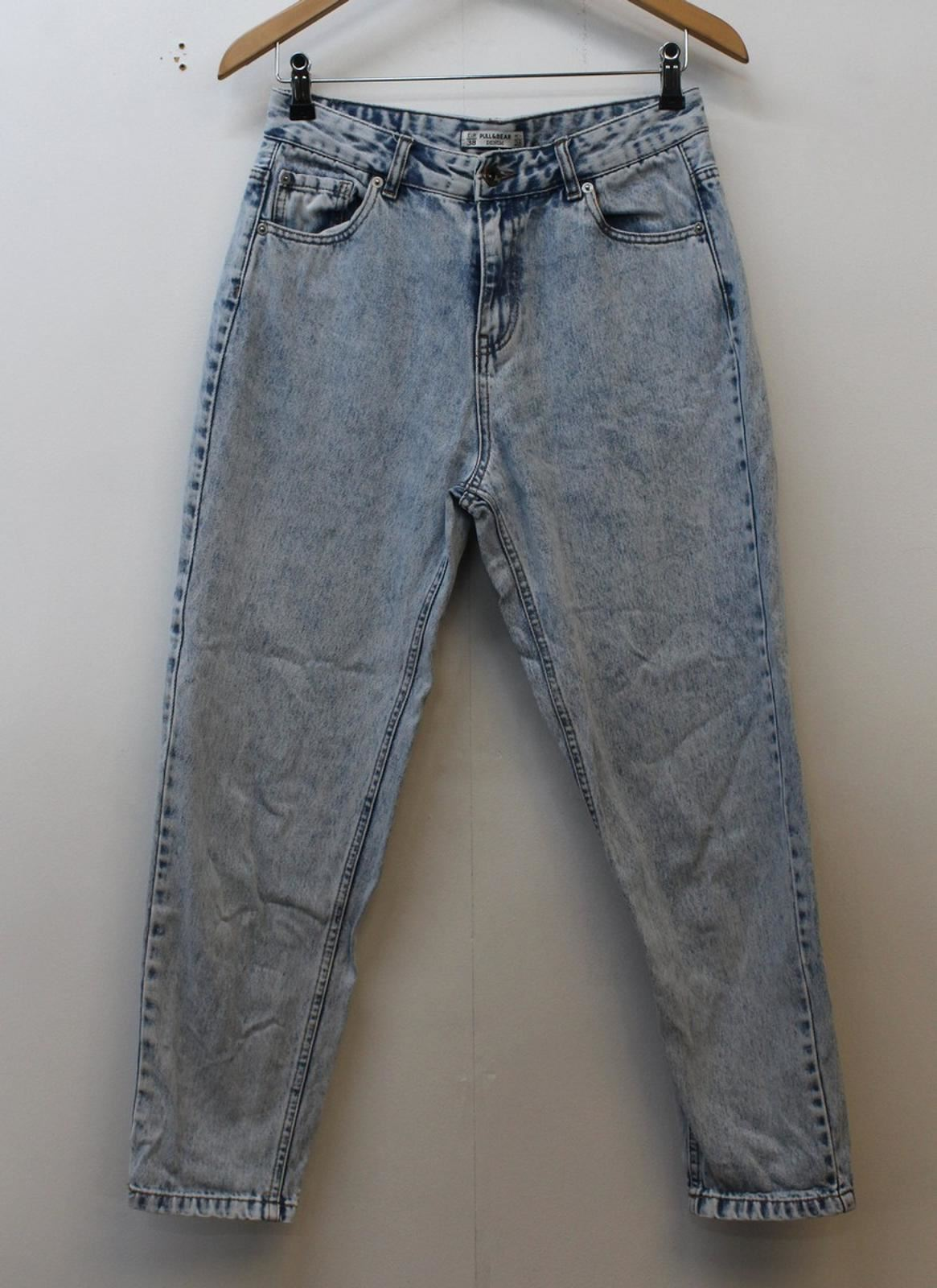 PULL-amp-BEAR-Ladies-Blue-Acid-Wash-Cotton-High-Waist-Slim-Skinny-Jeans-W28-L25