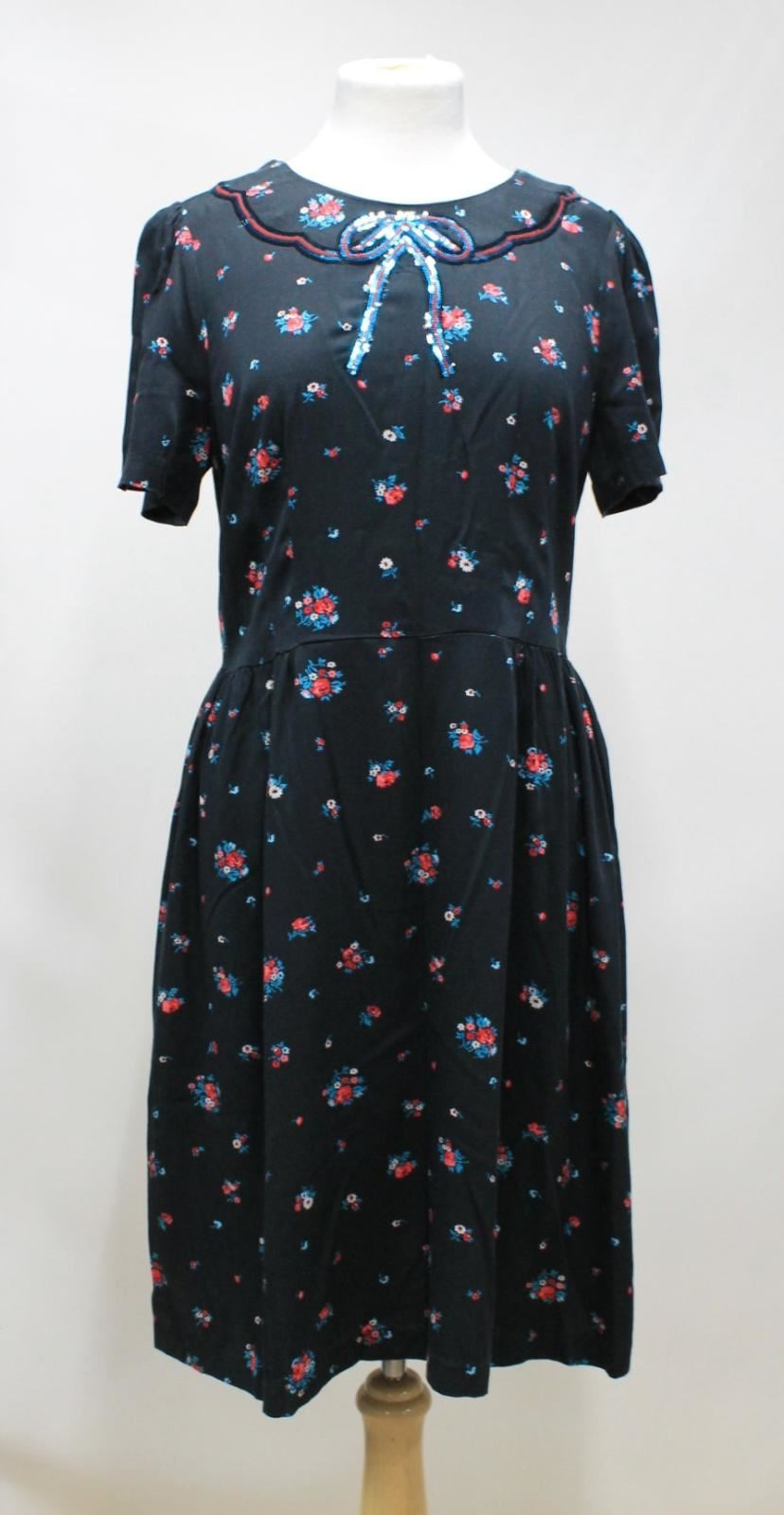 BNWT CATH KIDSTON Ladies Charcoal grau Sequin Detail Rosa Print Shift Dress UK8