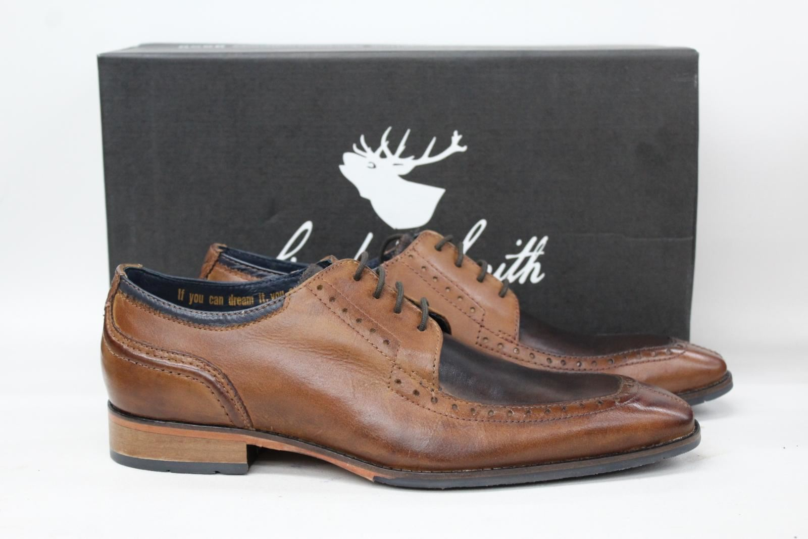 Goodwin-Smith-Homme-Knowle-deux-tons-marron-clair-Tablier-En-Cuir-Derby-Chaussures-UK8-Neuf
