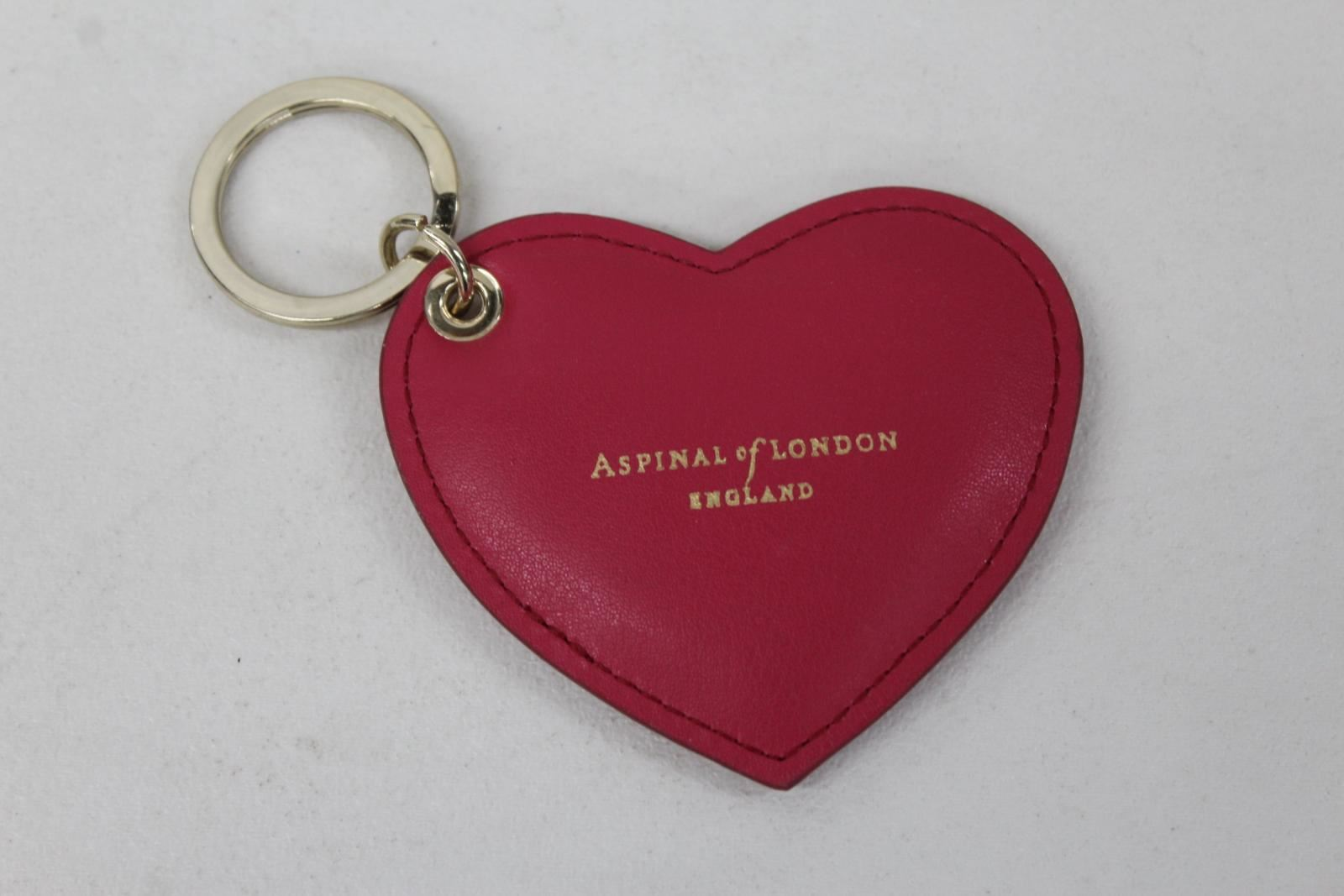 ASPINAL-OF-LONDON-Ladies-Smooth-Pink-Leather-Stamped-Heart-Shaped-Keyring-NEW