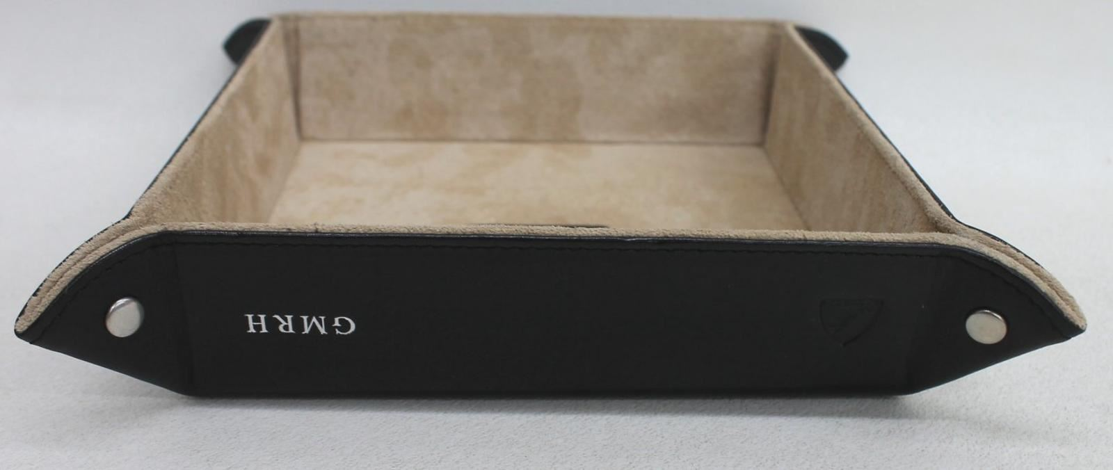 ASPINAL-OF-LONDON-Smooth-Black-Leather-Medium-Tidy-Tray-Embossed-GMRH-NEW