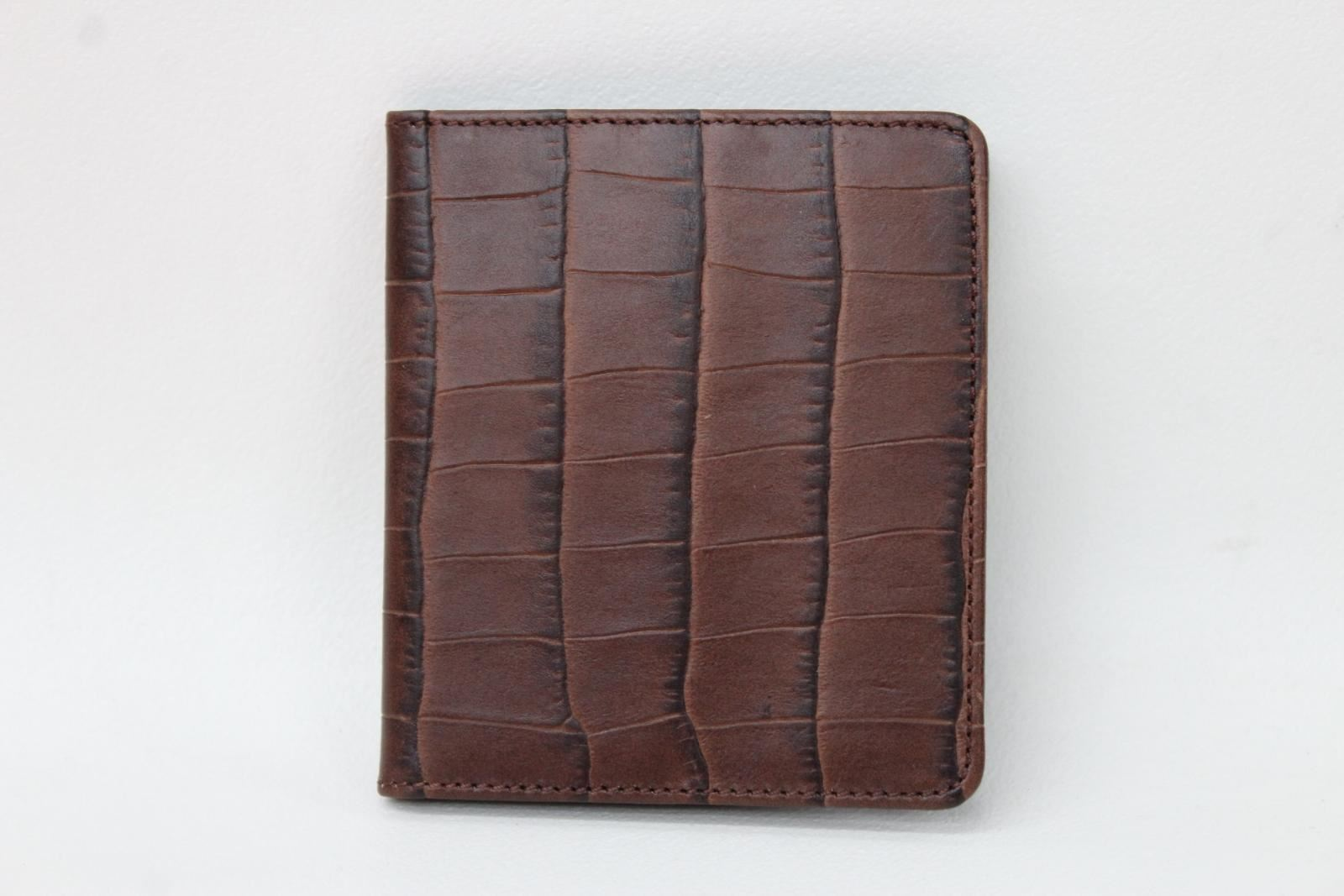 KIKI-JAMES-Men-039-s-Brown-Croc-Embossed-Leather-Bifold-8-Slot-Card-Wallet-NEW