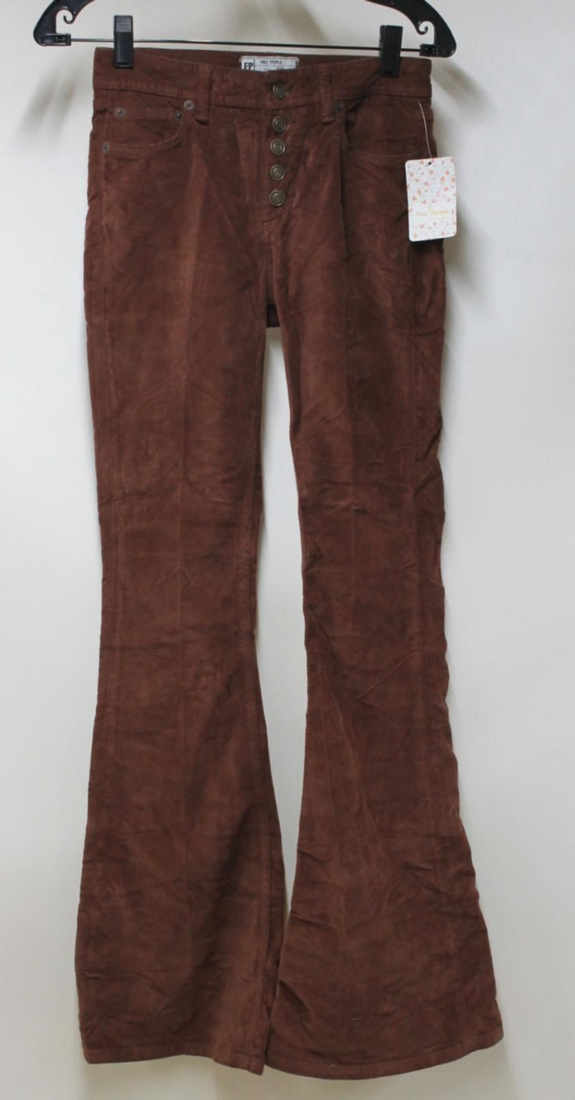 BNWT FREE PEOPLE Ladies Tobacco Brown Cotton Blend Flared Corduroy Jeans W25