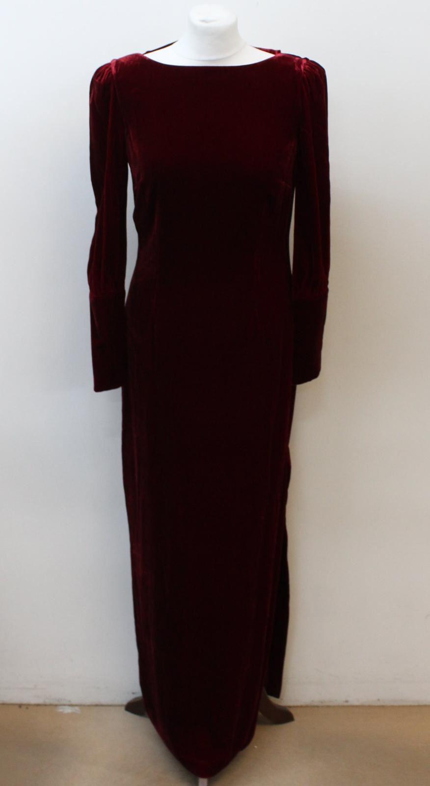 BIBA-Ladies-Deep-Red-Long-Sleeve-Cut-Out-Back-Velvet-Maxi-Dress-UK12-EU40