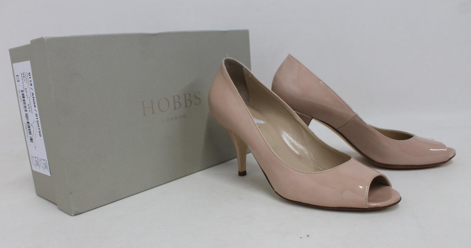HOBBS-Ladies-Light-Nude-Patent-Leather-Peep-Toe-Arletta-Court-Shoes-UK6-EU39-NEW