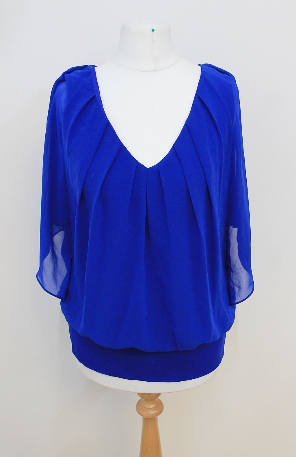 COAST Ladies Navy Blau V Neckline Batwing Sleeved Stretchy Blouse Größe UK10