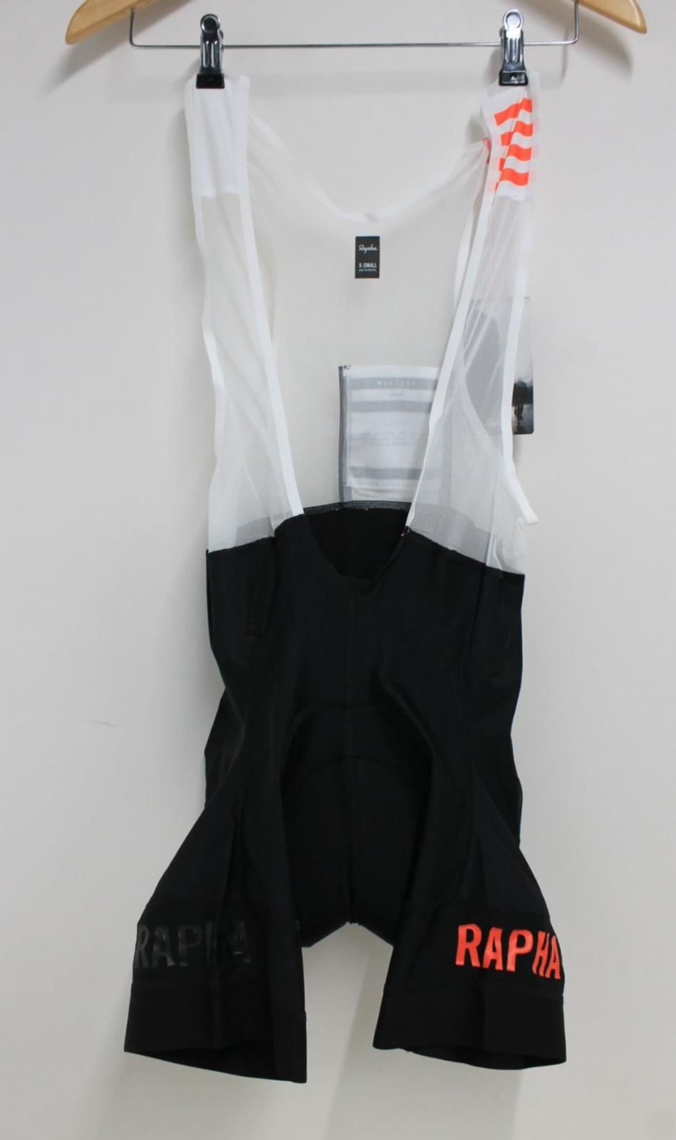 Size XS BNWT. Rapha Black//Coral Pro Team Bib Shorts
