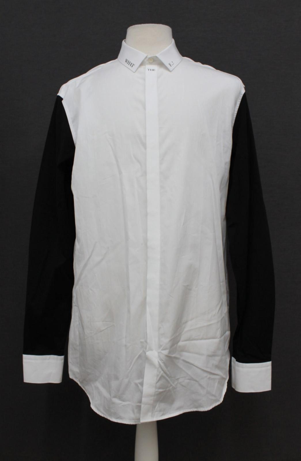 Neil-Barrett-Hombre-Blanco-De-Algodon-Manga-Negra-lo-que-el-F-Con-Cuello-Camisa-17-034