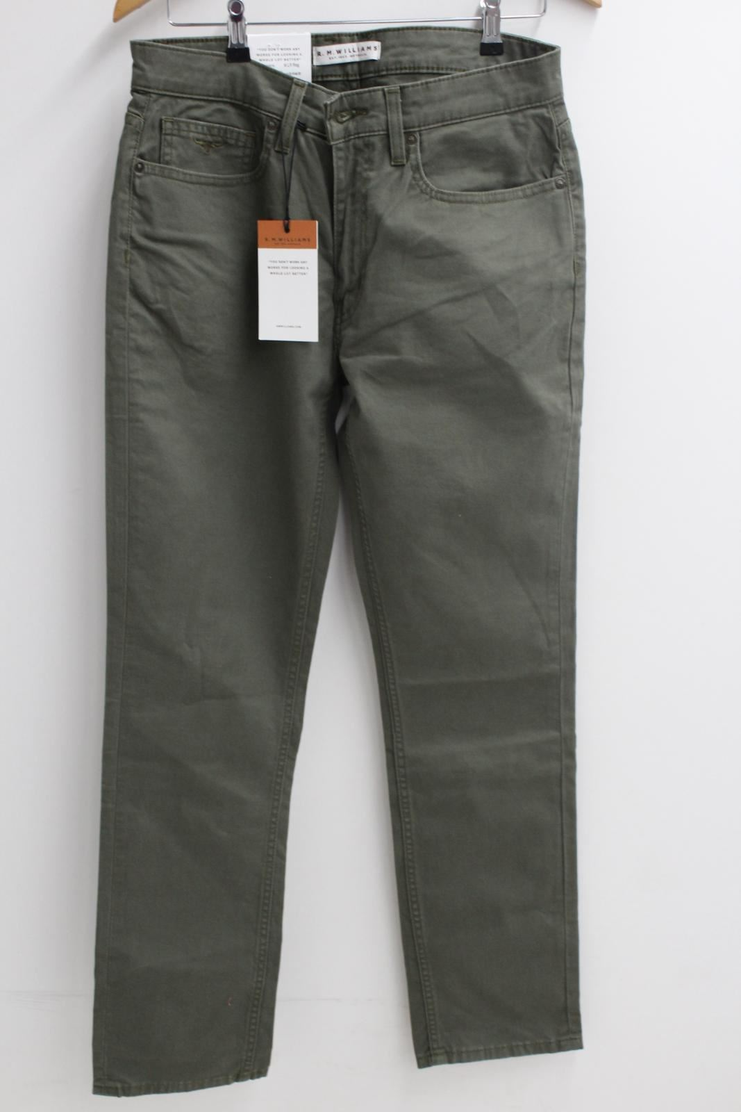 BNWT R.M. WILLIAMS Mens Ramco Regular Fit Jeans Low Tapered Leg Olive Green 40R