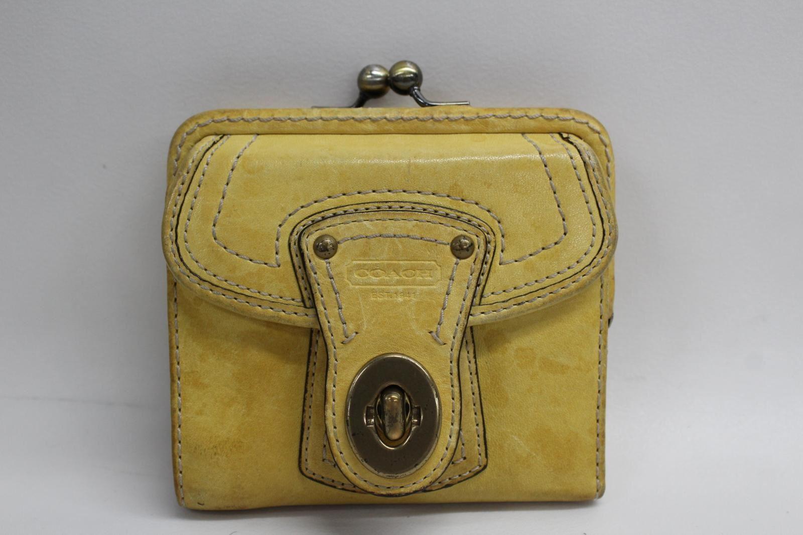 COACH-Ladies-Yellow-Small-Purse-Clasp-Closure-Pink-Interior-Card-Slot-Handbag