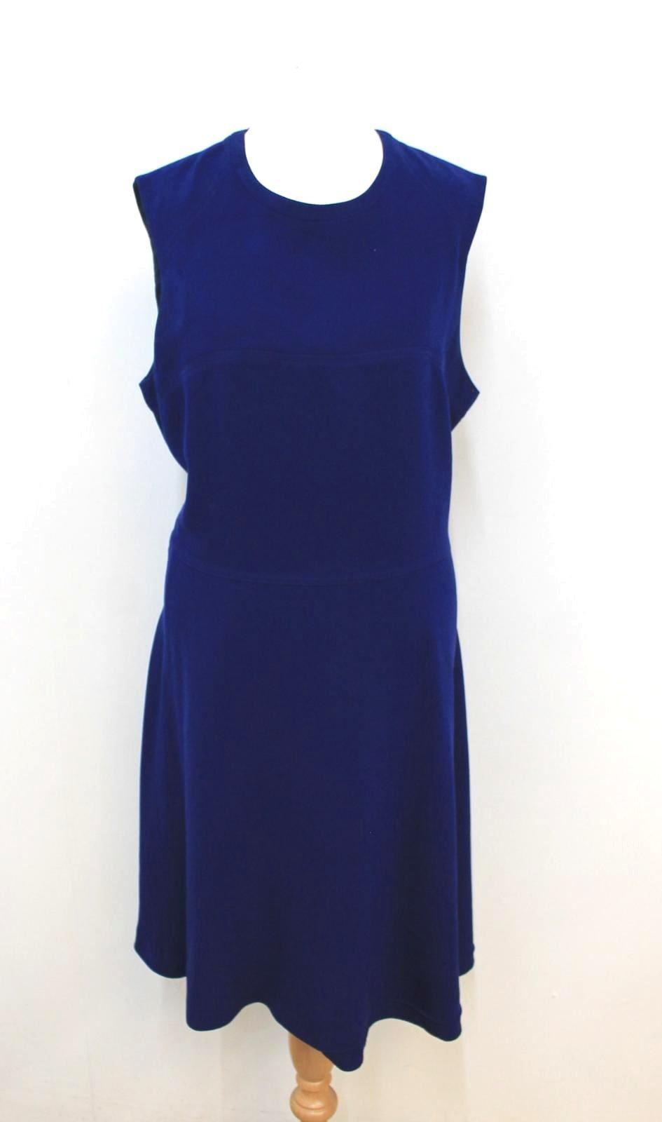JOSEPH-Ladies-Navy-Blue-Sleeveless-Crew-Neck-Midi-Shift-Dress-Size-EU42-UK14