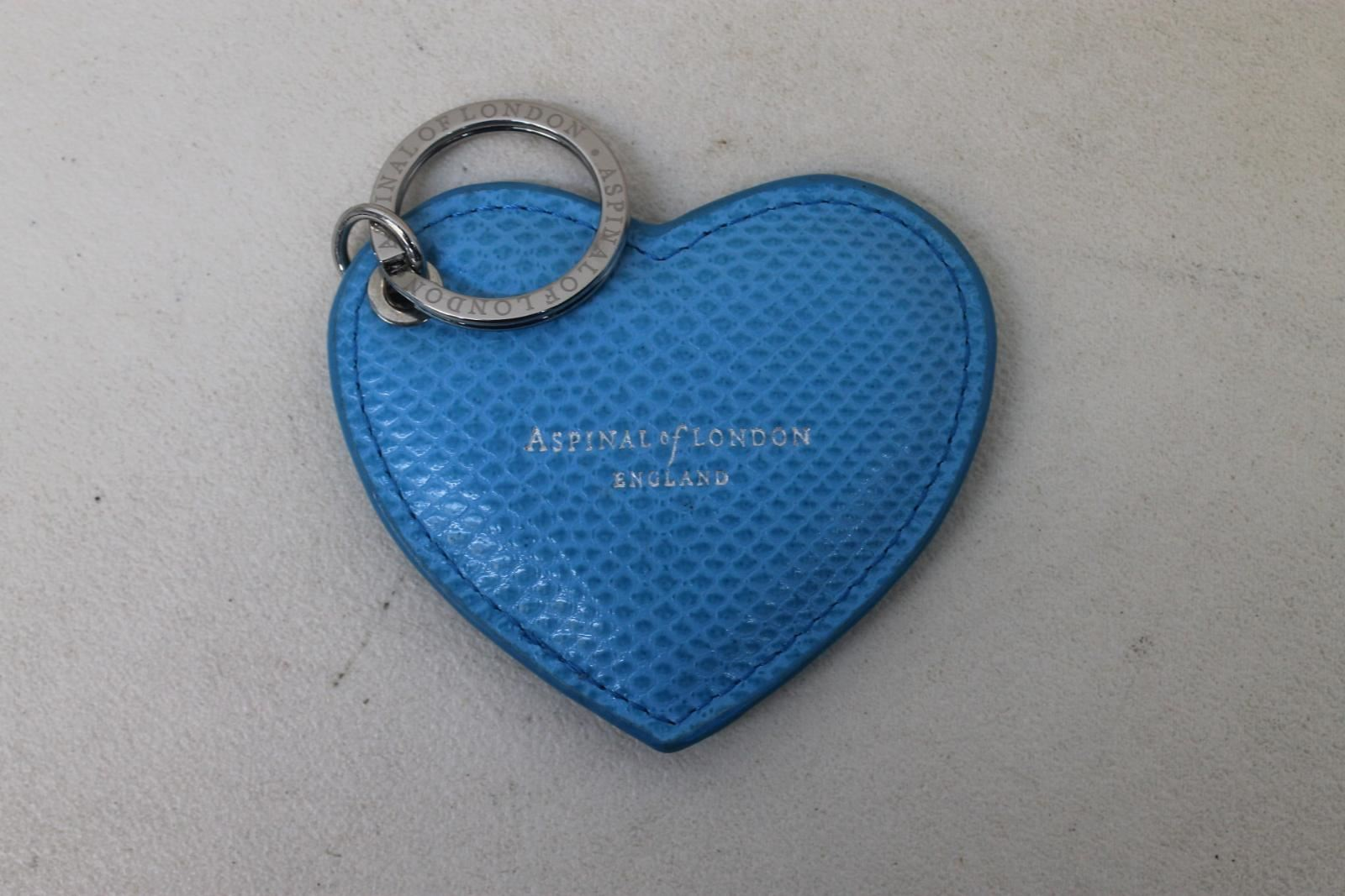 ASPINAL-OF-LONDON-Ladies-Blue-Lizard-Print-Heart-Keyring-Charm-w-Initials-NEW
