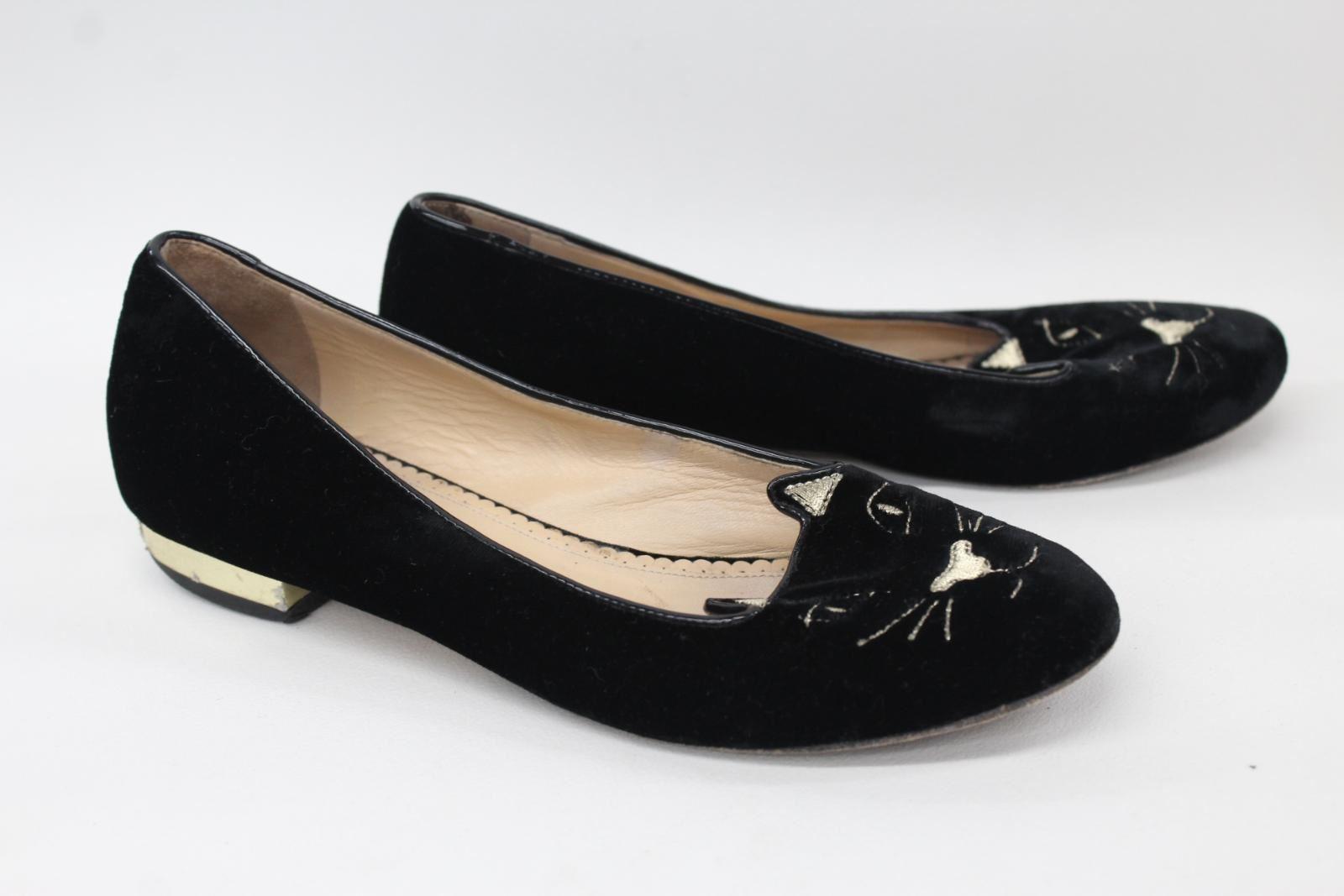 Angemessen Charlotte Olympia Ladies Black Velvet Kitty Flat Ballerina Shoes Uk4 Eu37 Um Das KöRpergewicht Zu Reduzieren Und Das Leben Zu VerläNgern