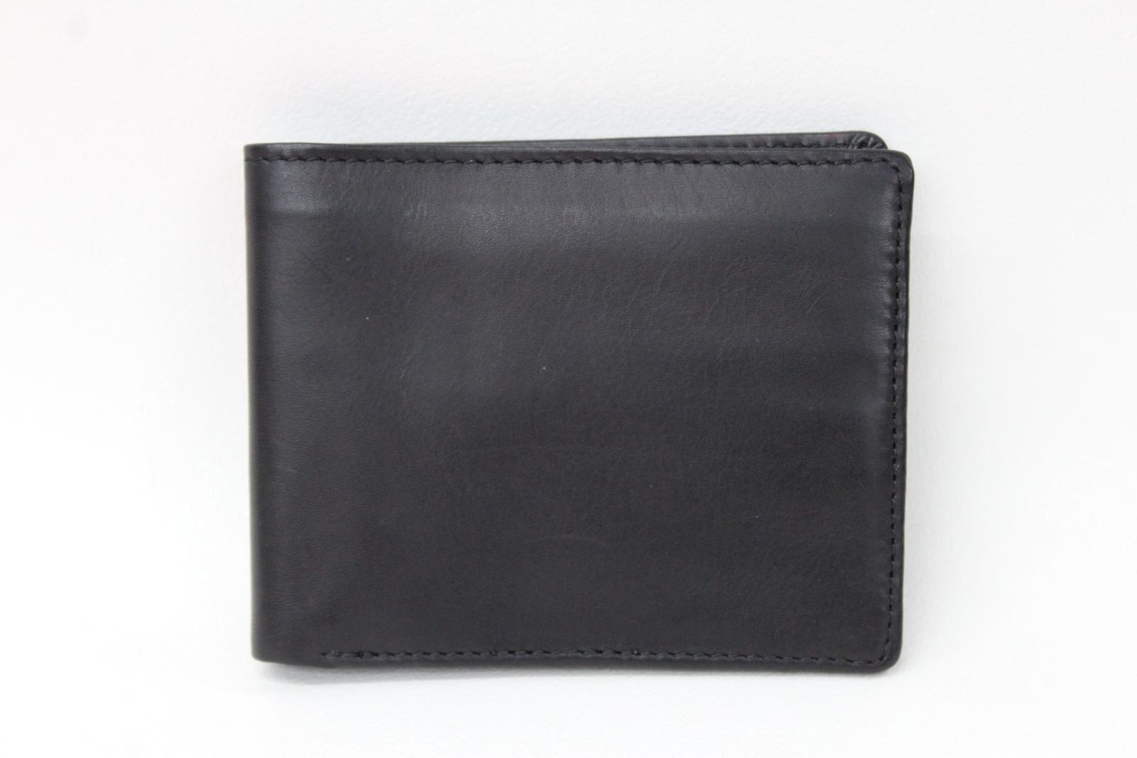 KIKI-JAMES-Men-039-s-Black-Leather-Bifold-Card-amp-Banknote-Embossed-Logo-Wallet-NEW