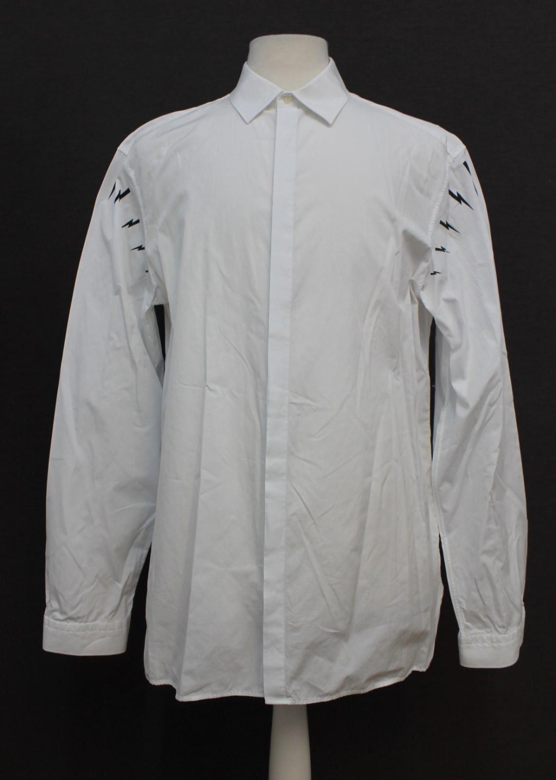 Neil-barrett-hombre-blanco-de-algodon-manga-de-Rayo-con-cuello-camisa-tamano-17-5-034
