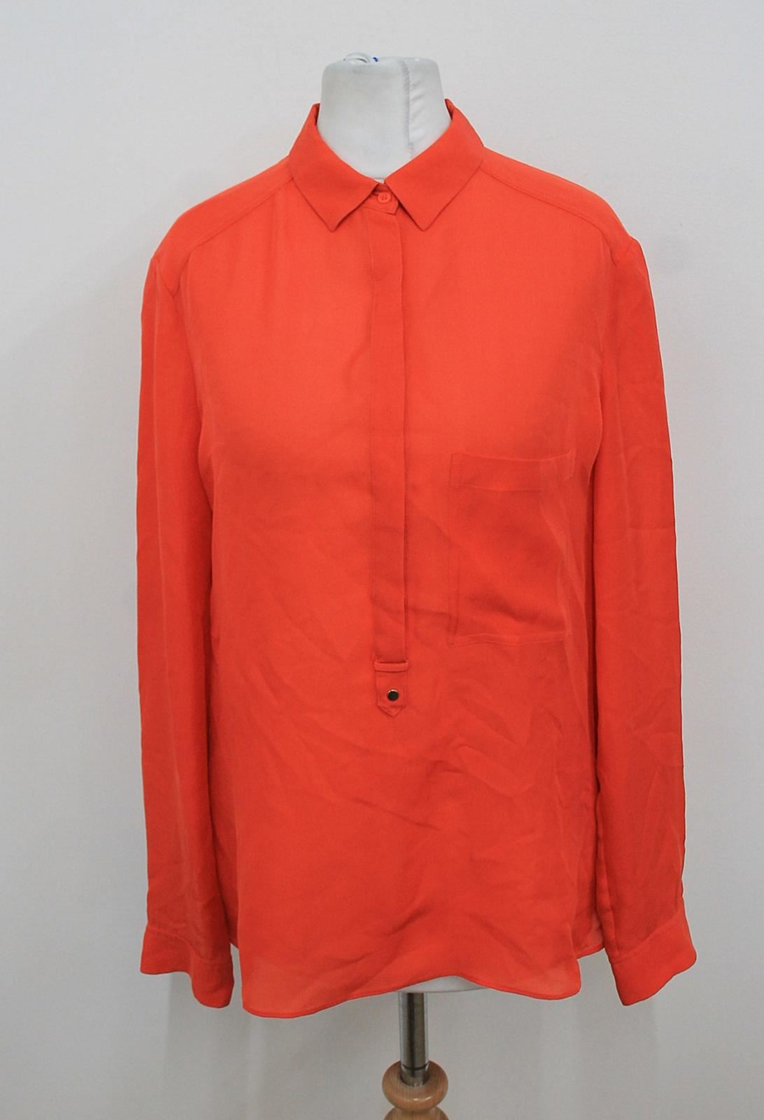 Massimo-Dutti-Damen-orange-langarm-Kragen-Seide-Shirt-Groesse-eu36-uk8
