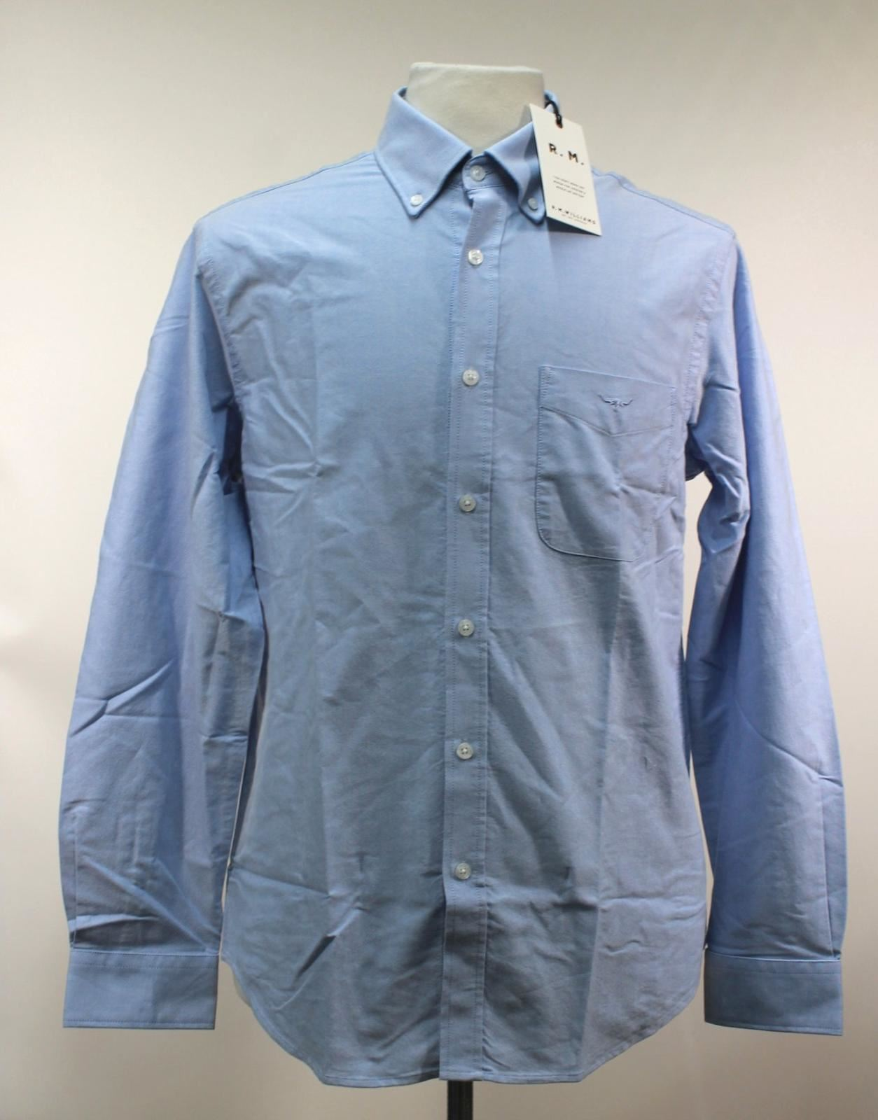 BNWT R. M. WILLIAMS Men's Sky bluee Cotton Collared Collins Casual Shirt Size M