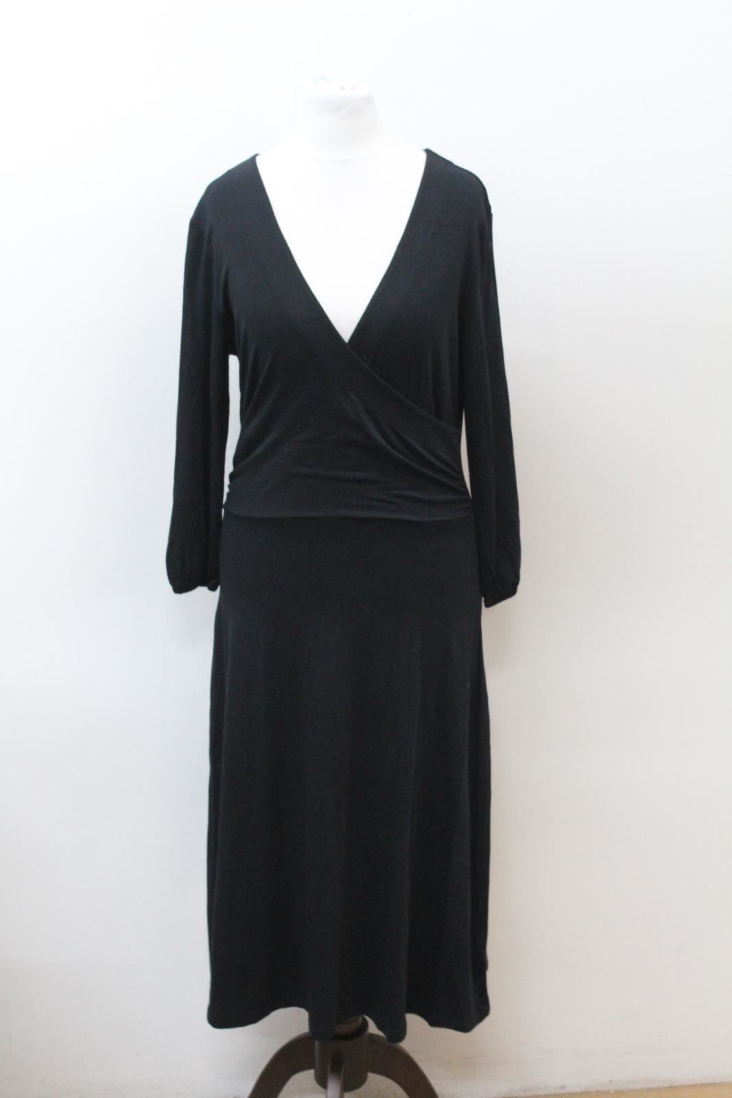 BODEN-Ladies-Black-3-4-Sleeve-V-Neckline-Shift-Style-Dress-Size-UK12-EU40