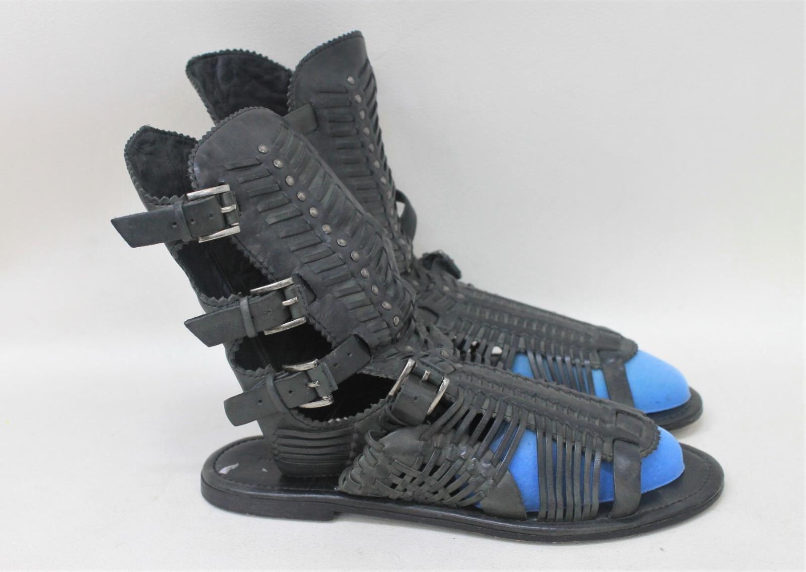 ALL-SAINTS-Ladies-Jacks-Place-Black-Woven-Leather-Gladiator-Sandals-UK5-EU38