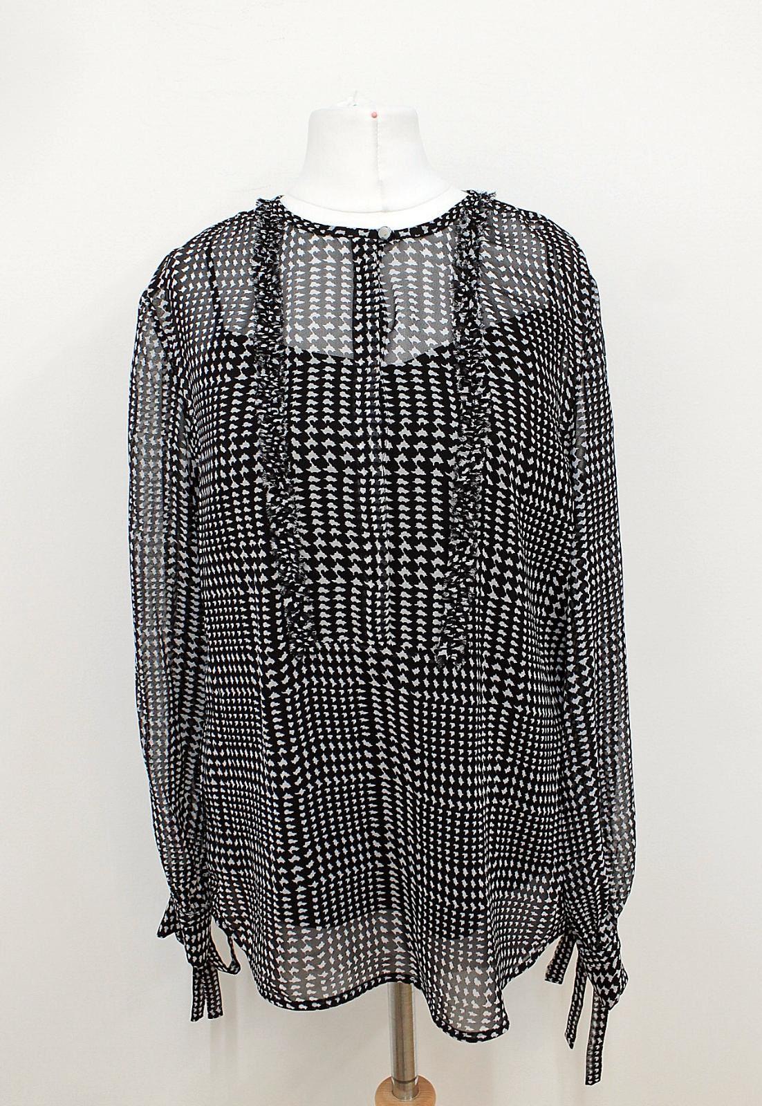 BNWT-L-K-BENNETT-Ladies-Black-White-Dot-Print-Long-Sleeved-Sheer-Blouse-UK8