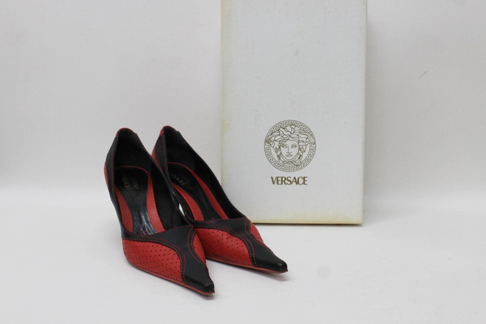 Gianni Versace Femme Noir En Cuir Rouge Pointu à Talon Haut Chaussures Eu39 Uk6-afficher Le Titre D'origine Belle En Couleur