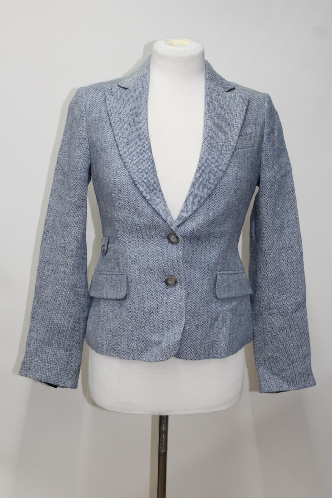DUBARRY-Blairscove-Ladies-Blue-Linen-Single-Breasted-Jacket-Blazer-UK8-BNWT
