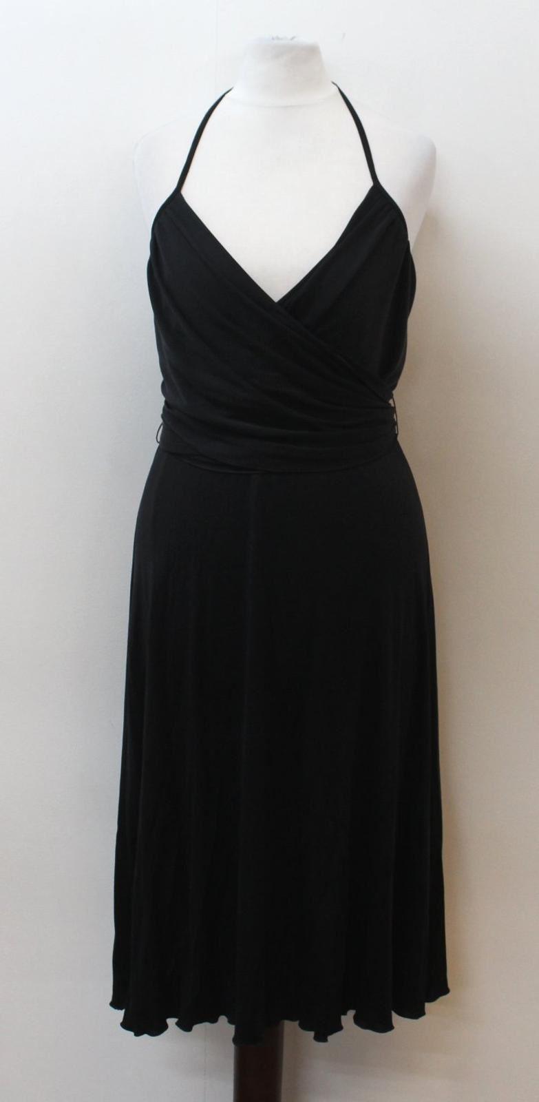 TRINA TURK Ladies schwarz Silk Sleeveless Halterneck Shift Style Dress US6 UK10