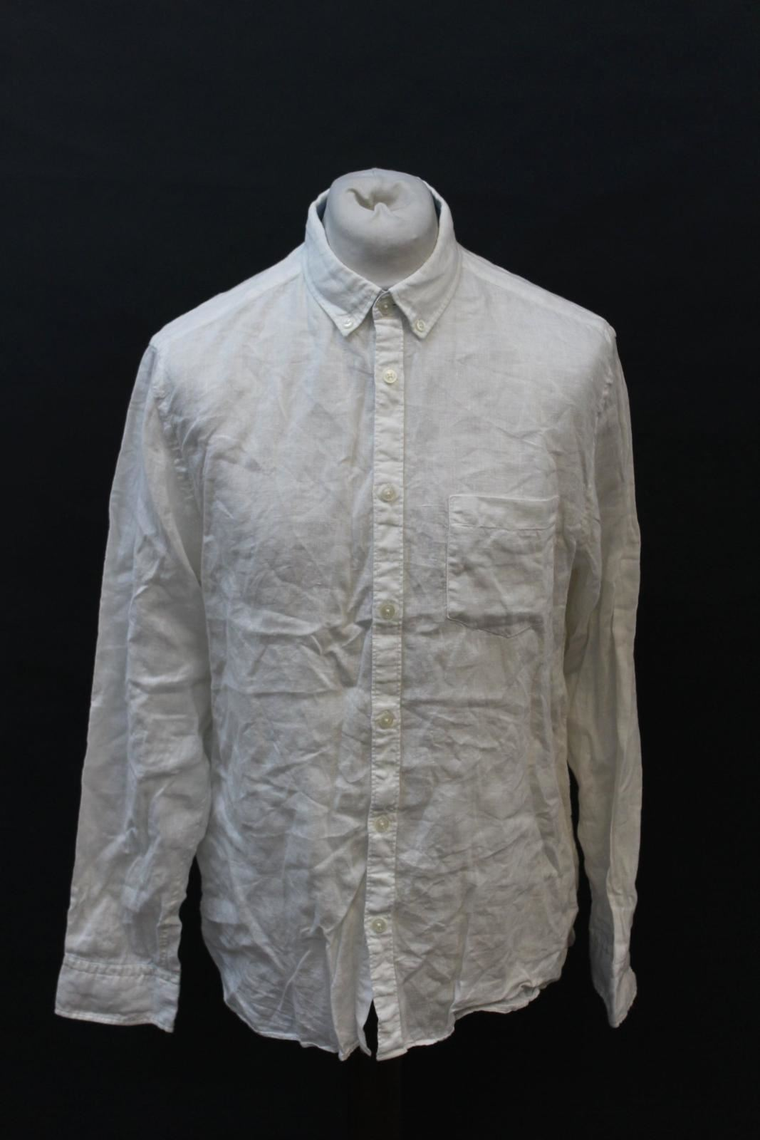 JAEGER-Men-039-s-White-Cotton-Long-Sleeve-Side-Pocket-Collared-Casual-Shirt-L