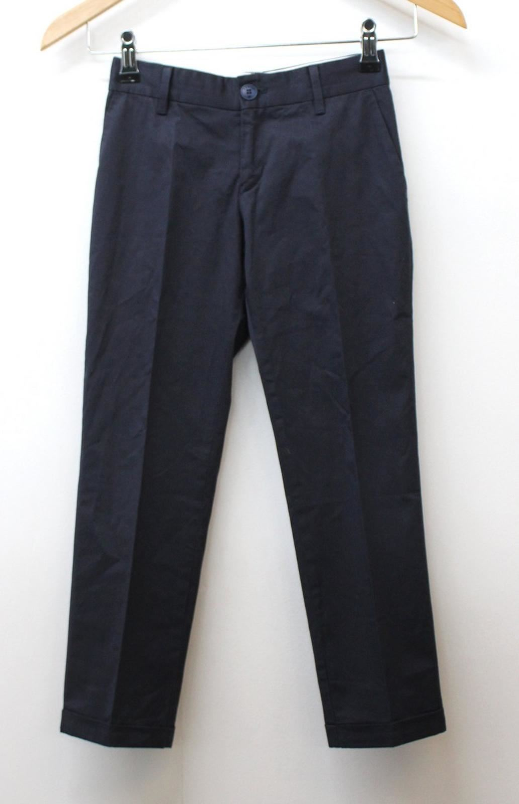 ARMANI Boys Navy Blue Cotton Blend Pleated Front Formal Trousers Size 7 Yrs.