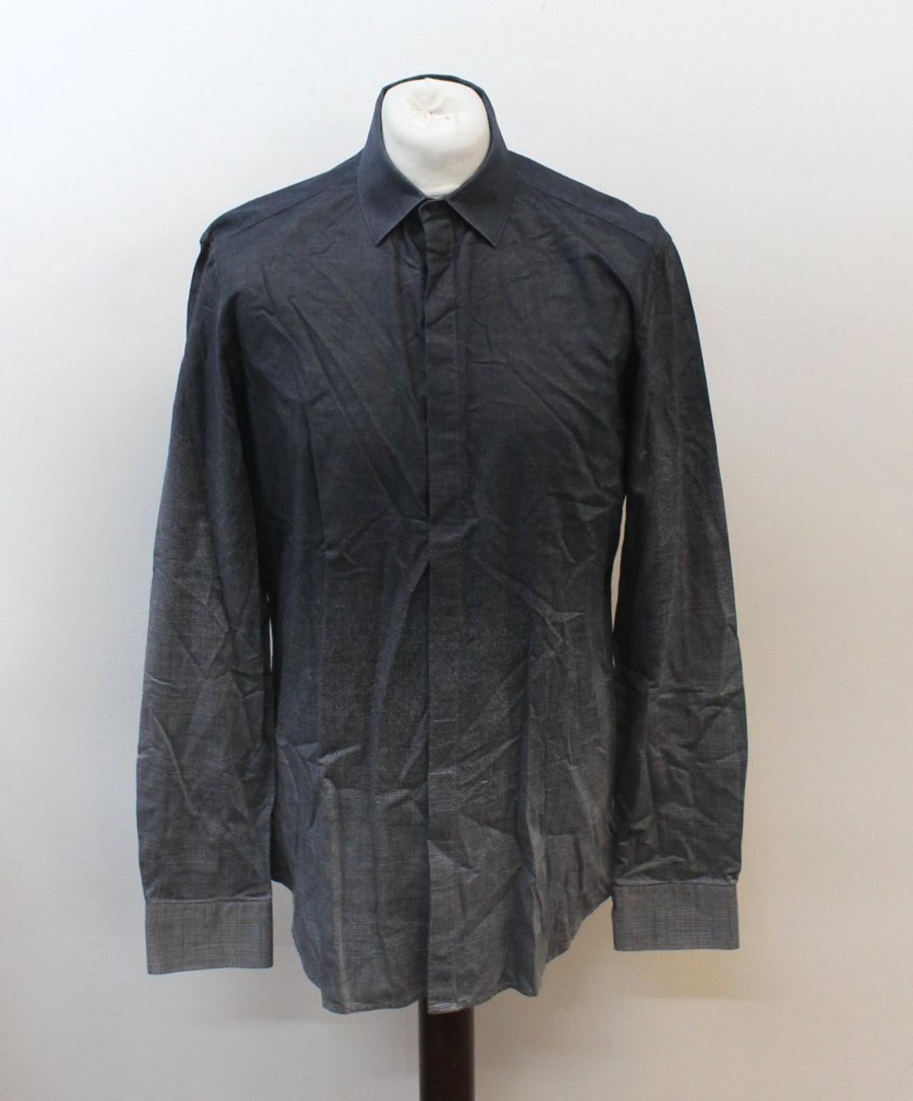 Neil-Barrett-Hombre-Luz-Gris-Oscuro-Algodon-Slim-Fit-Camisa-Cuello-Ombre-16-5-034-42cm