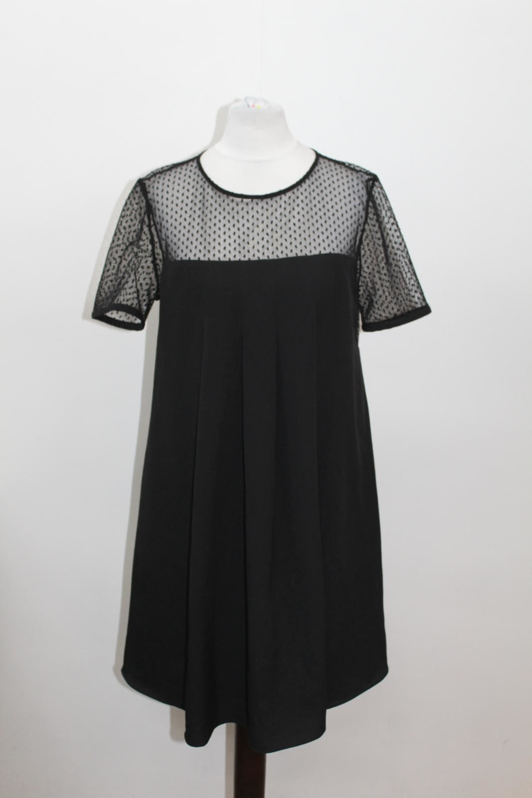 Size Eu36 Pierlot Uk8 Ladies Spotted Short Black Mesh Claudie Dress Sleeve z8dwvxvq