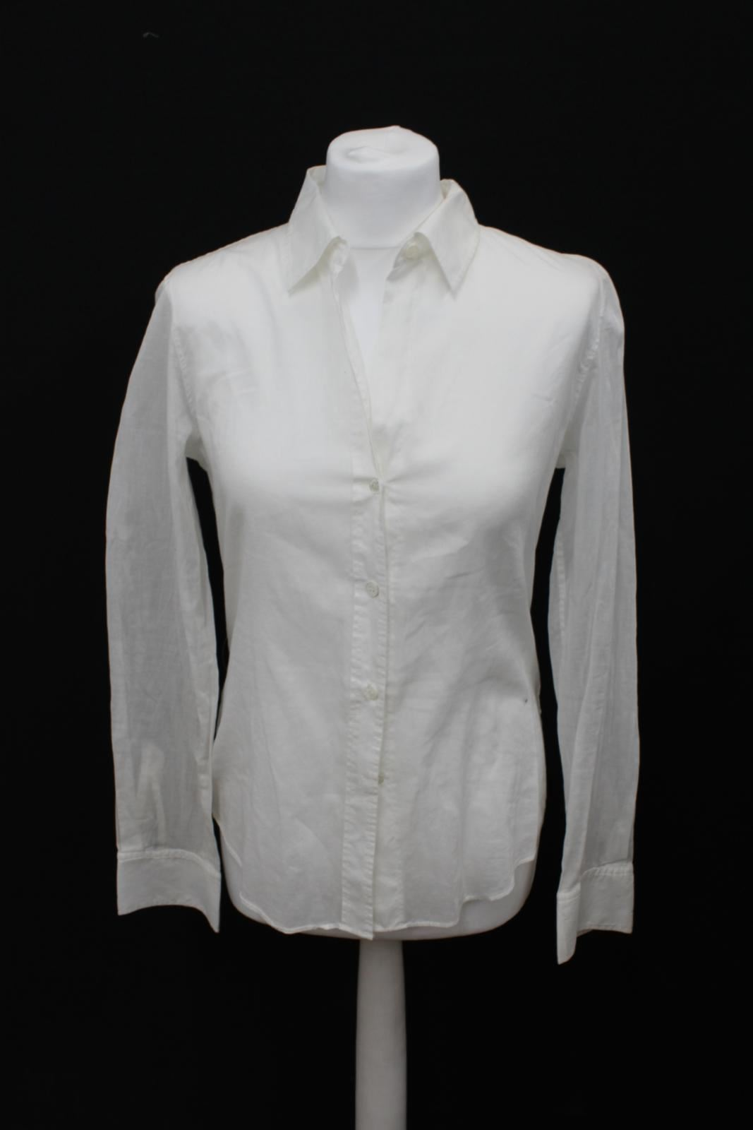 THEORY Ladies Weiß Fold Collarot Button Up Long Sleeve Cotton Shirt Größe M