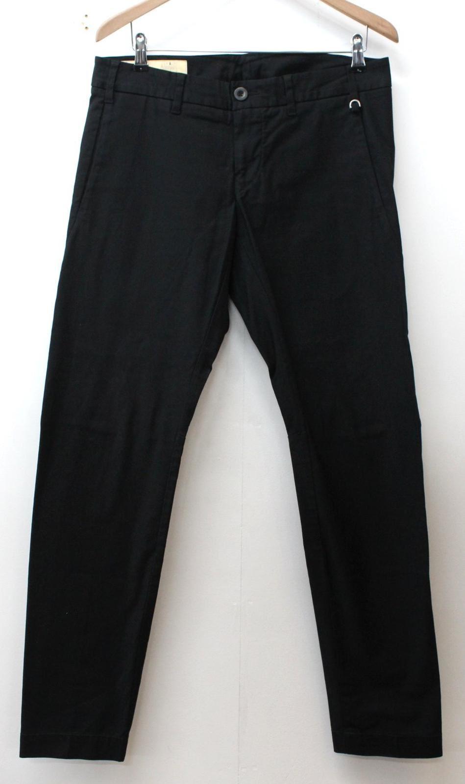 FASHIONISTA Men's schwarz Cotton Blend Flat Front Style Trousers Größe W34 L33