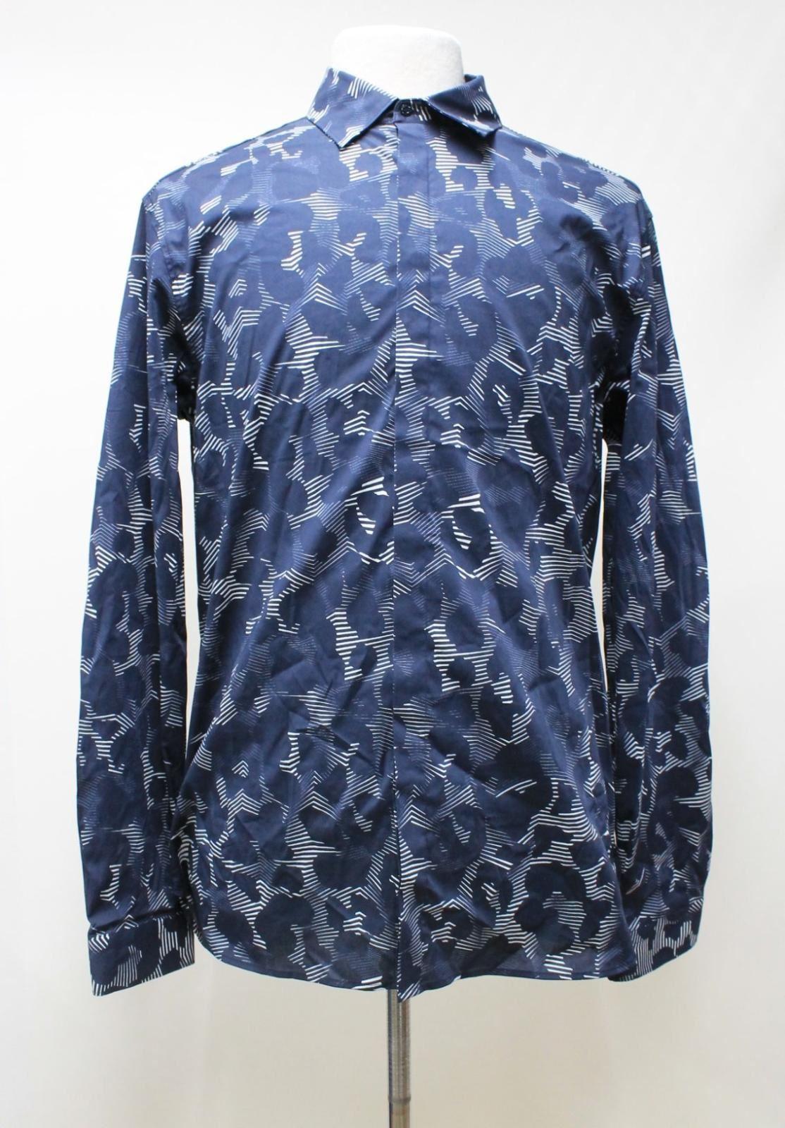 Neil-Barrett-Para-Hombre-Calce-Cenido-Estampado-Abstracto-Algodon-Azul-Con-Cuello-Camisa-16-5-034