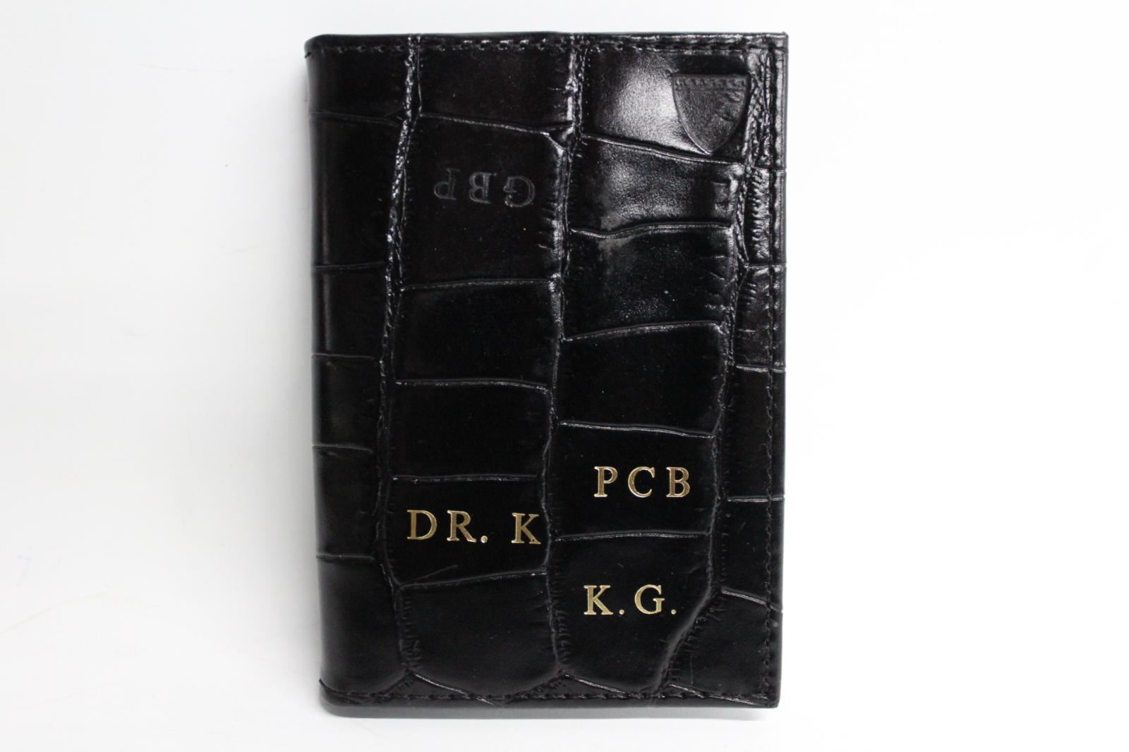 ASPINAL-OF-LONDON-Black-Croc-Leather-Bifold-Credit-Card-Case-Wallet-Initials-NEW