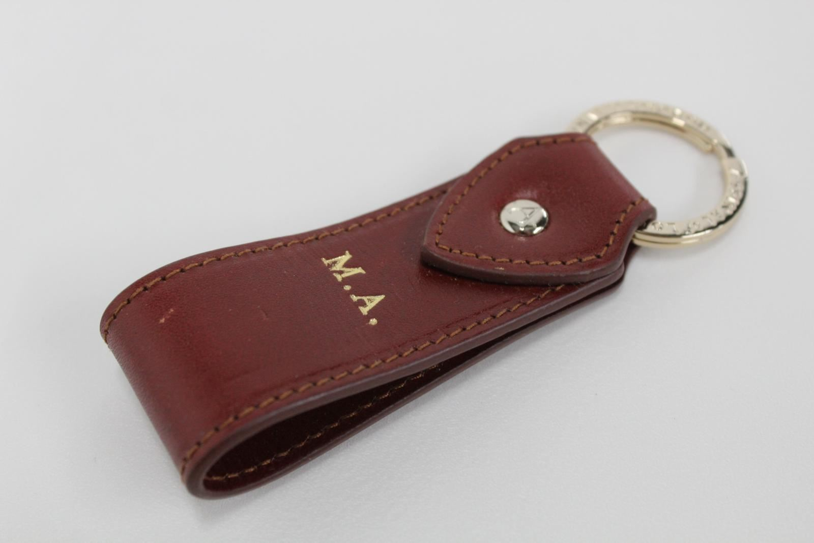 ASPINAL-OF-LONDON-Leather-Penny-Brown-Initials-M-A-Gold-Accent-Keyring-Fob-NEW