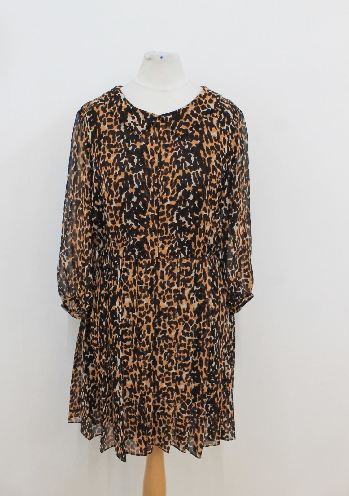 WHISTLES-Ladies-Brown-Black-Animal-Print-Long-Sleeved-Pleated-Dress-Size-UK8